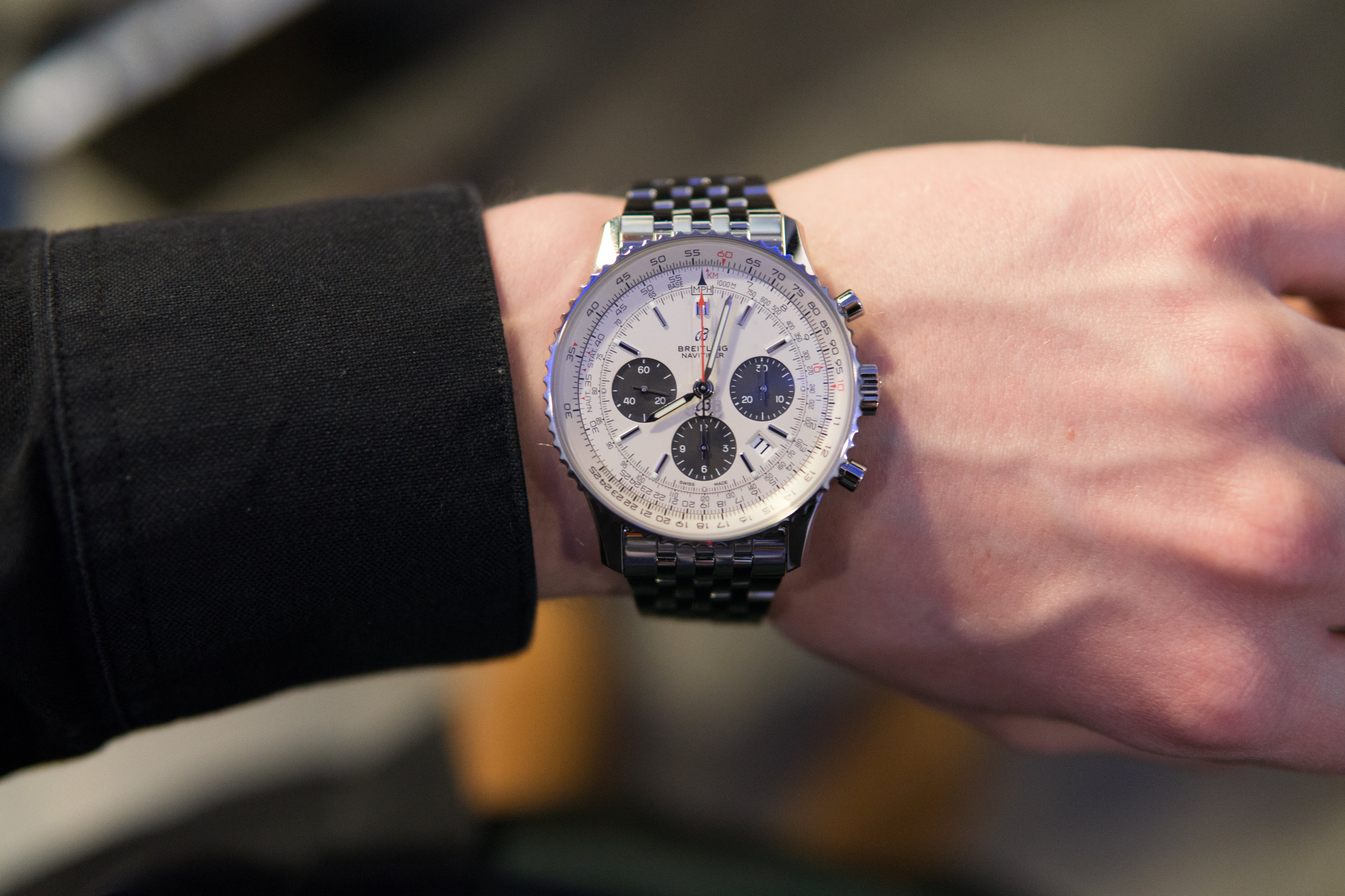 The new Breitling Navitimer boasts the new logo and a sapphire caseback.