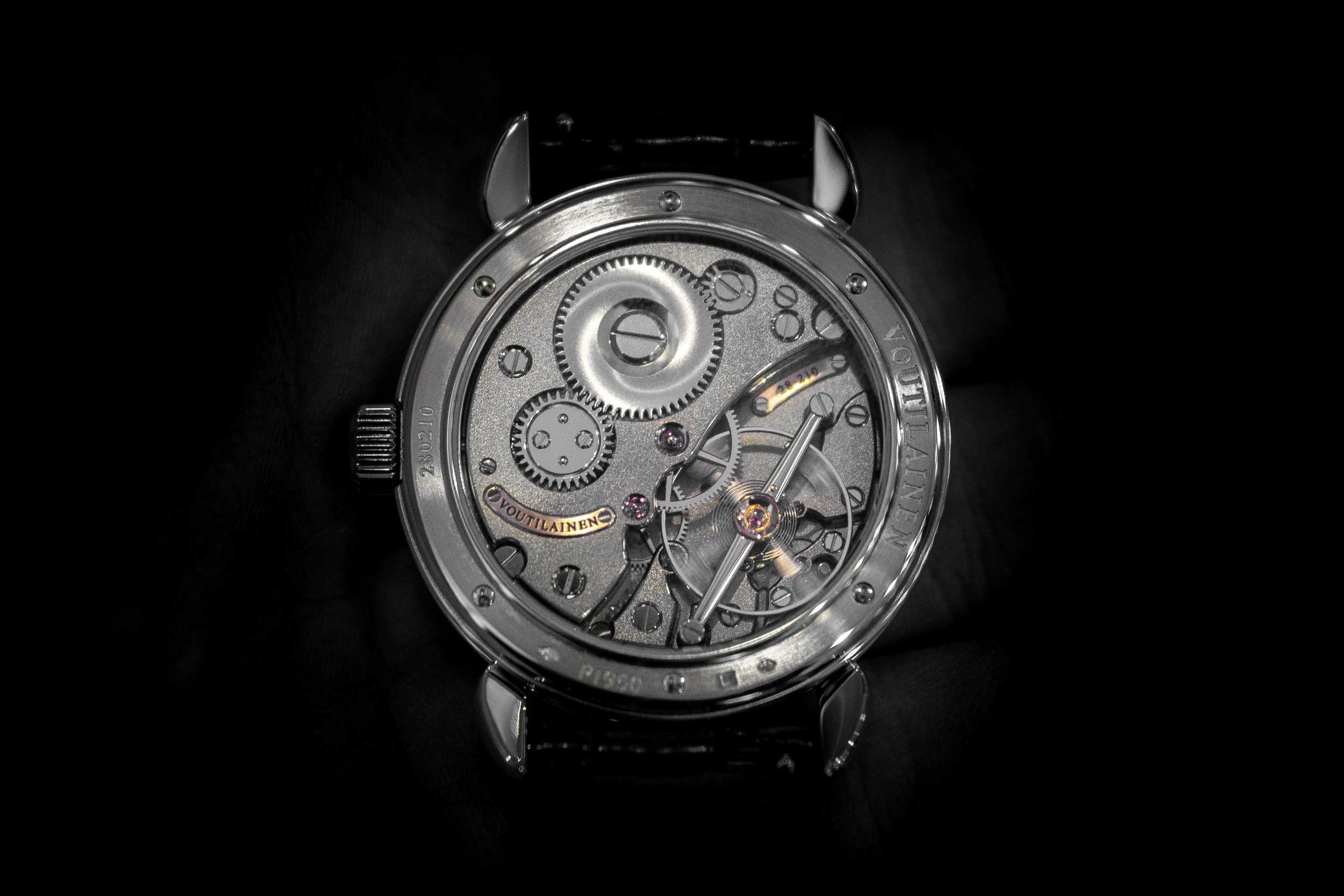 The back of the Voutilainen Vingt-8. The balance wheel on the lower right demands a lot of attention when looking at the movement.
