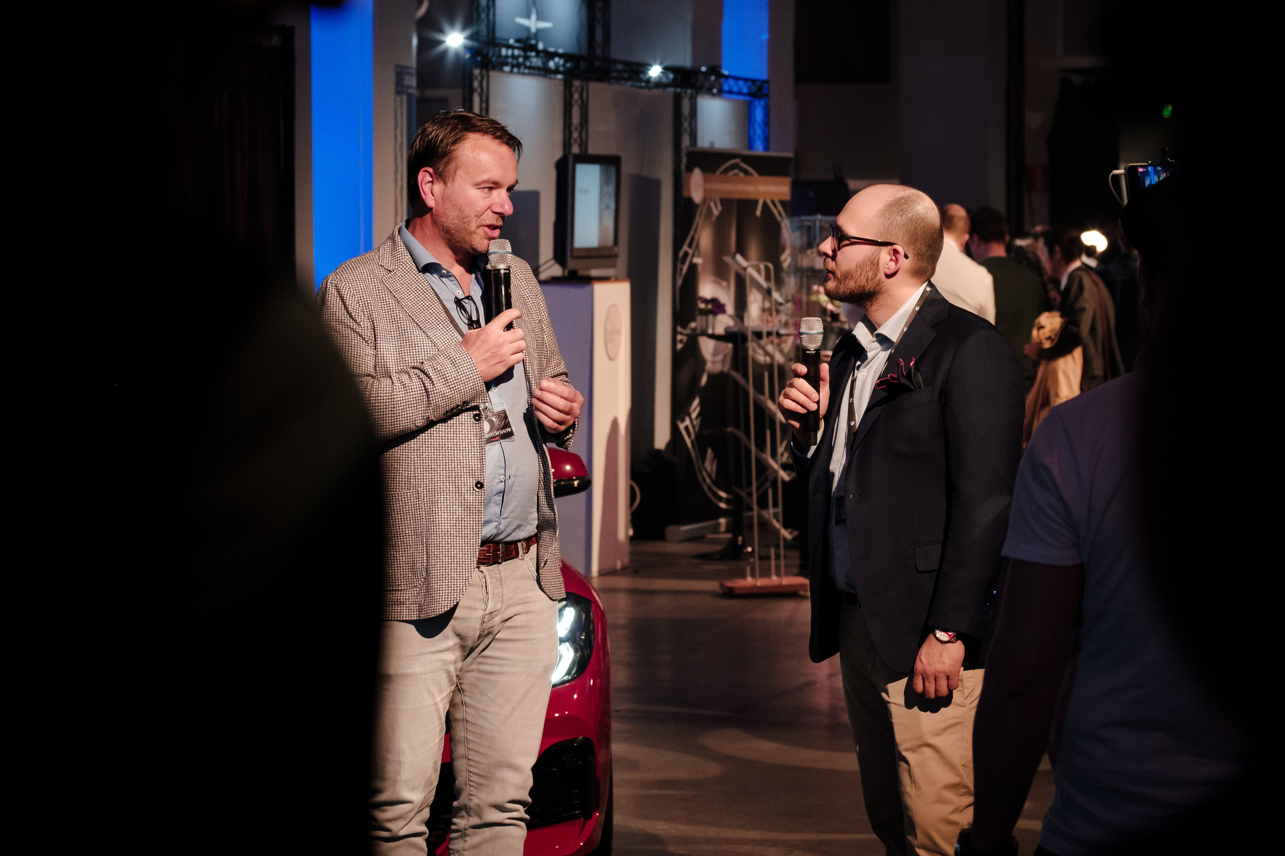 The founder of The Watch Show Finland Ville Arzoglou (right) interviewing Bart Grönefeld (left)