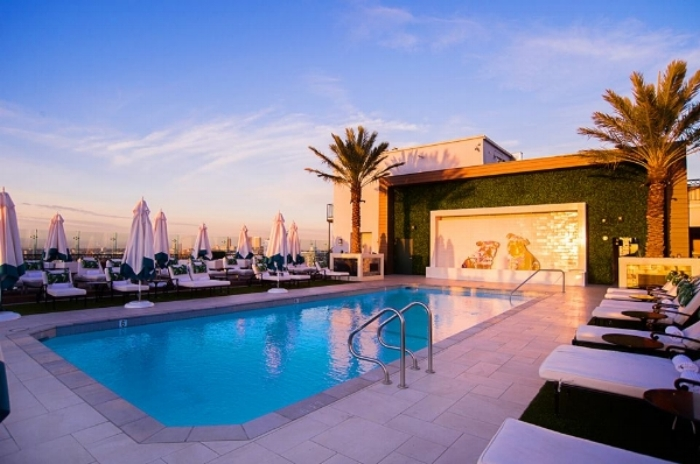 The rooftop pool at London West Hollywood Hotel