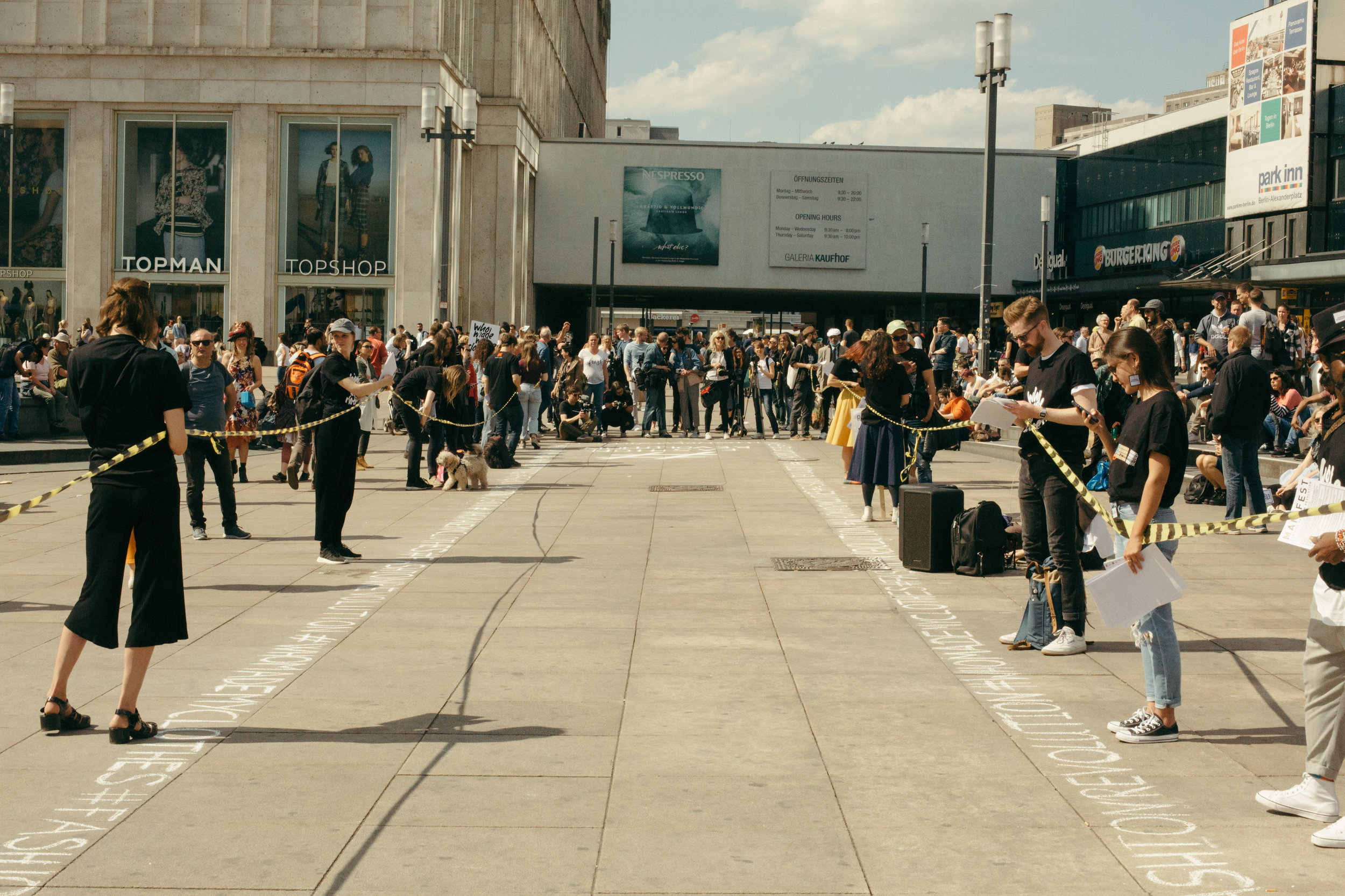 Fashion Revolution organizers forming the runway in front of Primak in Berlin / captured by Nikolett Madai