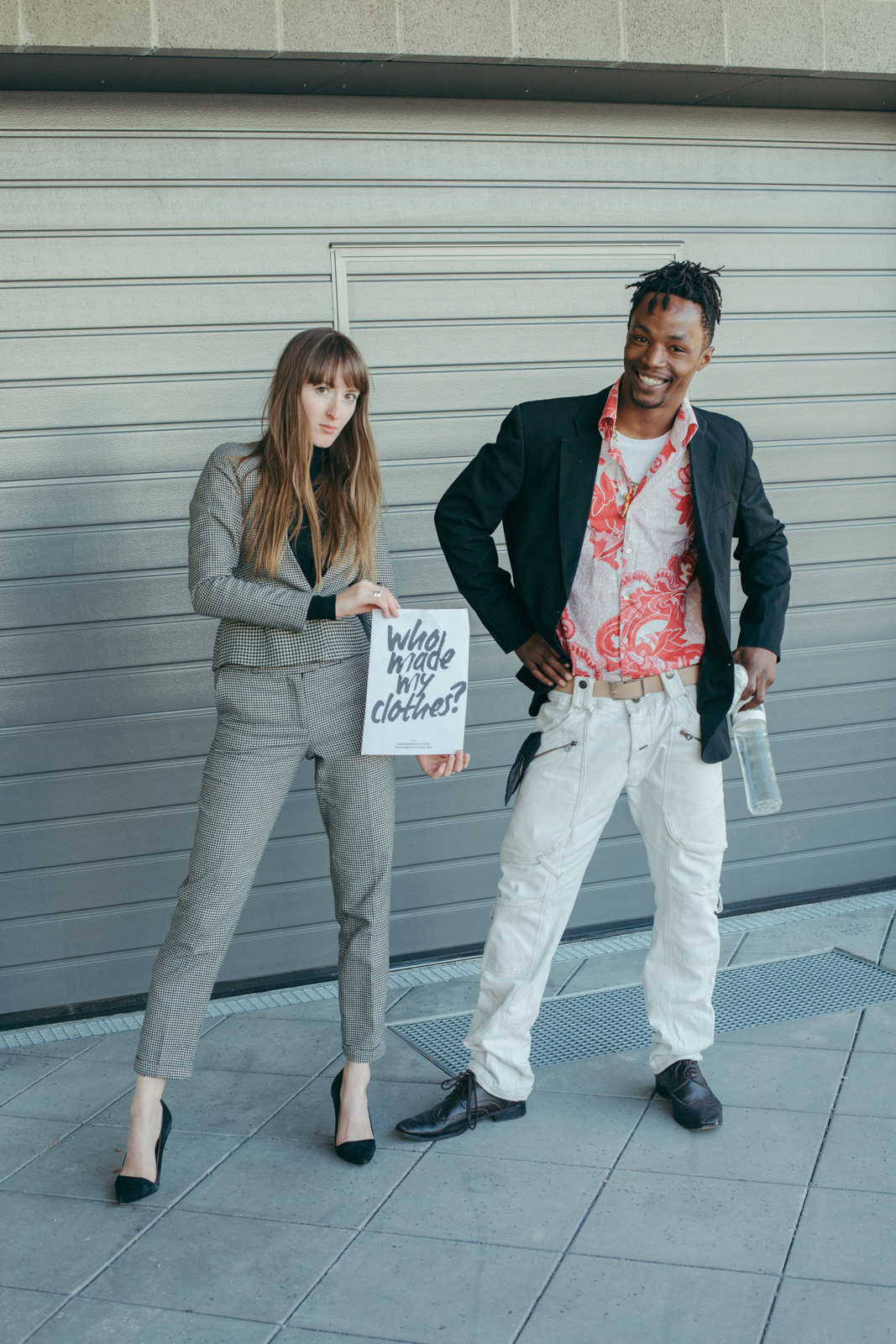 Cherie with passerby Jamny during Fashion Revolution Week 2018. Captured by  Christianna Quack , aka Vegan Stylist.