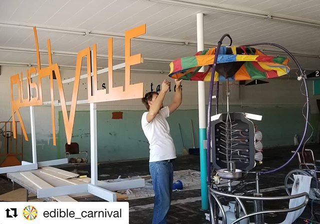 #Repost @edible_carnival with @get_repost ・・・ Russell prepping the Rotisserie for tomorrow at Rushville Fun Days!  In the Sandhills Institute grocery store by the mock-up of the new Rushville signs.  @sandhillsinstitute . . . #sculpture #performance #foodart #rotisserie #grill #thermoelectric #rushville #nebraska #vacation #fundays #kineticart #interactiveart #metalwork #turbine #rainbow #sandhills #residency #project #artwork #sculptor #artist #artwork #contemporaryart #contemporary