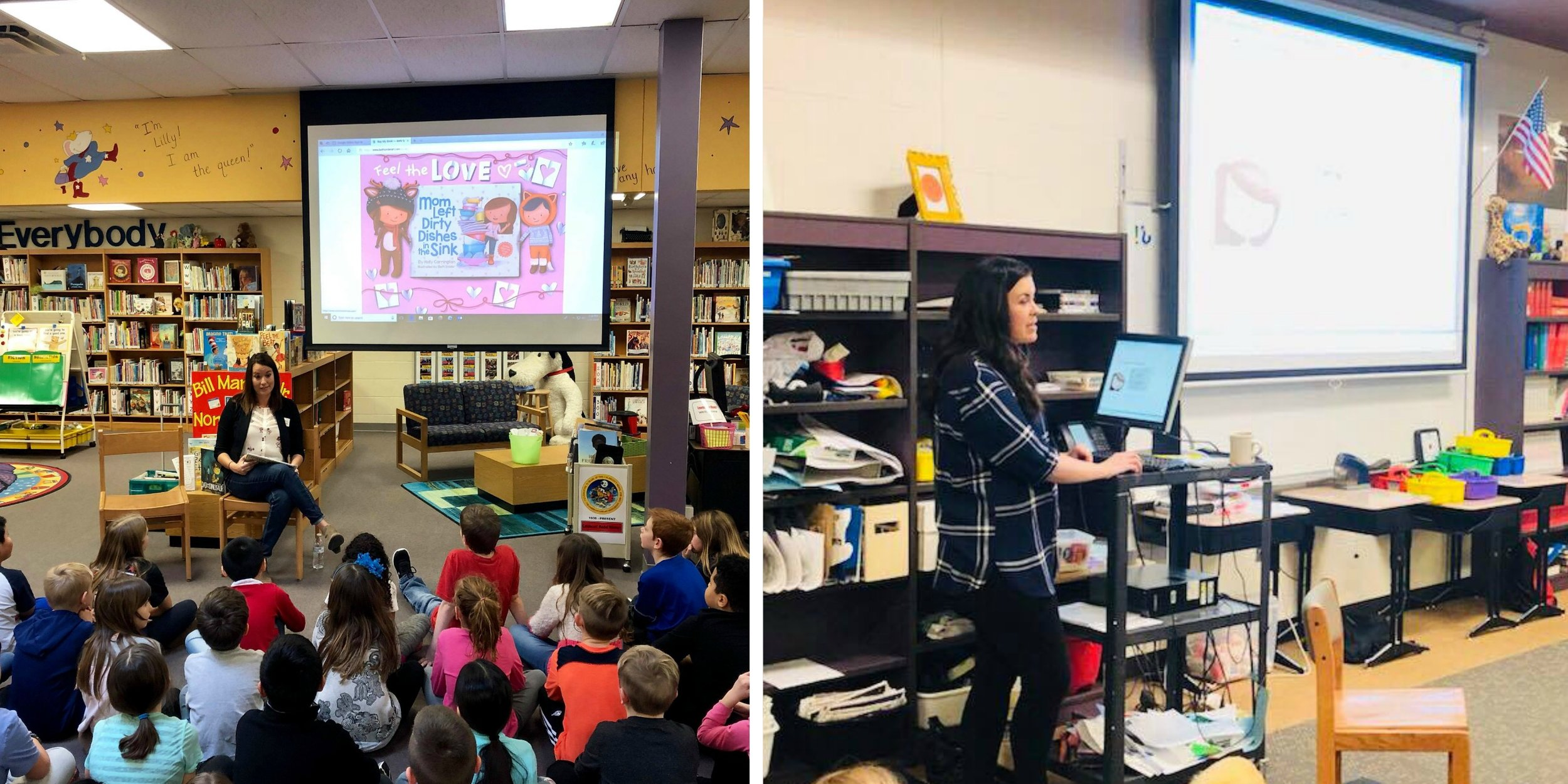 From Left: Author Holly Carrington reads to 2nd graders; Illustrator Beth Snider presents the book creation process to 5th graders