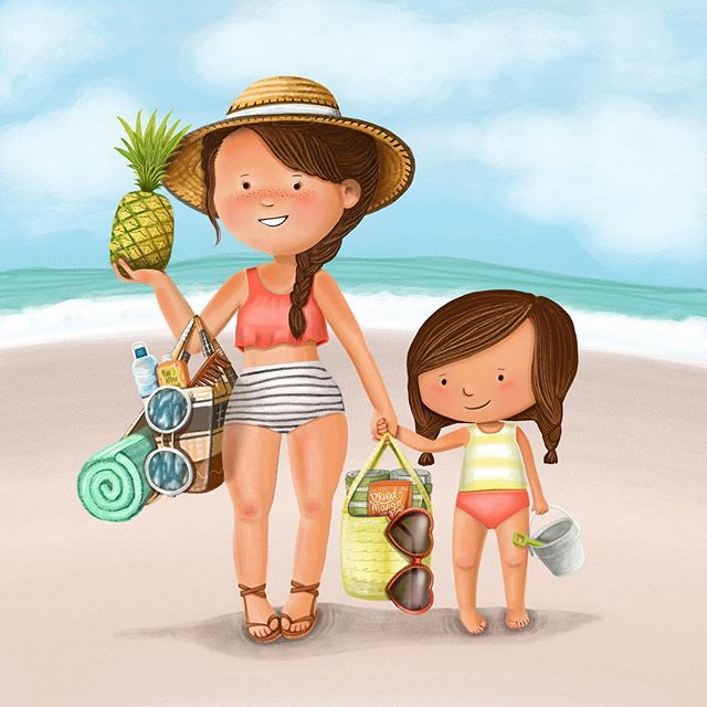 This illustration is not in the book, but I used the characters from the book I illustrated called Mom Left Dirty Dishes in the Sink! Can you tell I love to draw fashion styles?! . . . . . #childrensbooks #childrenswritersguild #childrens_illustration #illustration #drawing #artistsoninstagram #beach #ocean #bathingsuit #mothersday #momlife #momlifebelike #mommyandme #momsanddaughters #bethsniderart #summeroutfit #summertime #illustratorsoninstagram #picturebooks #picturebookart @childrenswritersguild @children_illustrations @childrenbook_art @childrensbookillustration