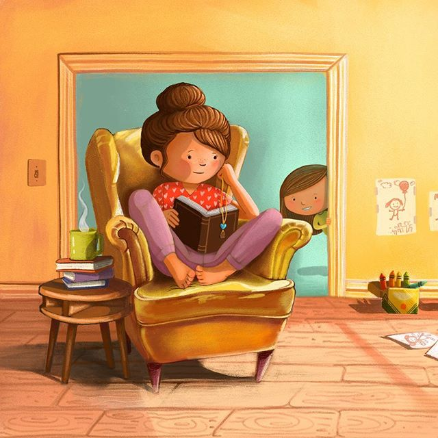 Morning moments of reflection: where motherhood is refined. . . . . . . #artistsoninstagram #bethsniderart #bethsnider #illustration #illustrator #illustrated #childrensbooks #children_illustration #childrenspicturebooks #picturebookart #picturebookillustration #childrenswritersguild #drawing #painting #morningmotivation #morningmom #motherhood #mothersday #momlife @children_illustrations @childrensbookillustration @childrenbook_art @cozytimestories @childrenswritersguild @best_of_illustrations