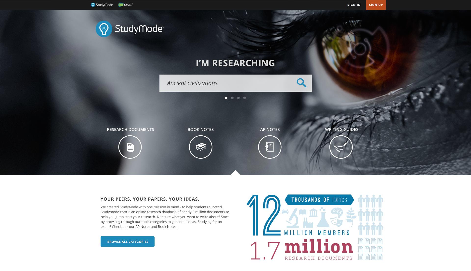 StudyMode Homepage 2014