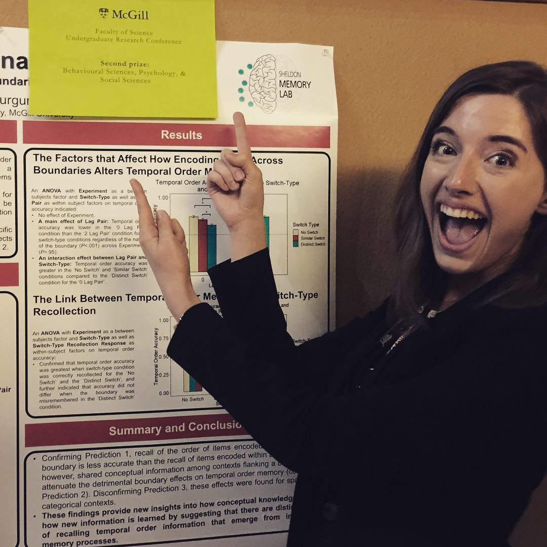 "Congratulations to  Elizabeth DuTemple  on winning second place in the Behavioural Sciences, Psychology, & Social Sciences category at the Faculty of Science's 14th annual Undergraduate Research Conference (URC) on October 4, 2018. Her poster entitled ""Space, the Final Frontier?: The Effects of Contextual Boundaries on Temporal Memory"" presents results on a series of experiments that she conducted with  Lauri Gurguryan . This work describes how contextual information can alter the way temporal information is encoded. Interestingly, Elizabeth and Lauri found that space is NOT the final frontier as non-spatial and spatial contextual information at encoding has comparable effect on temporal memory. Quick, someone tell Patrick Stewart …"