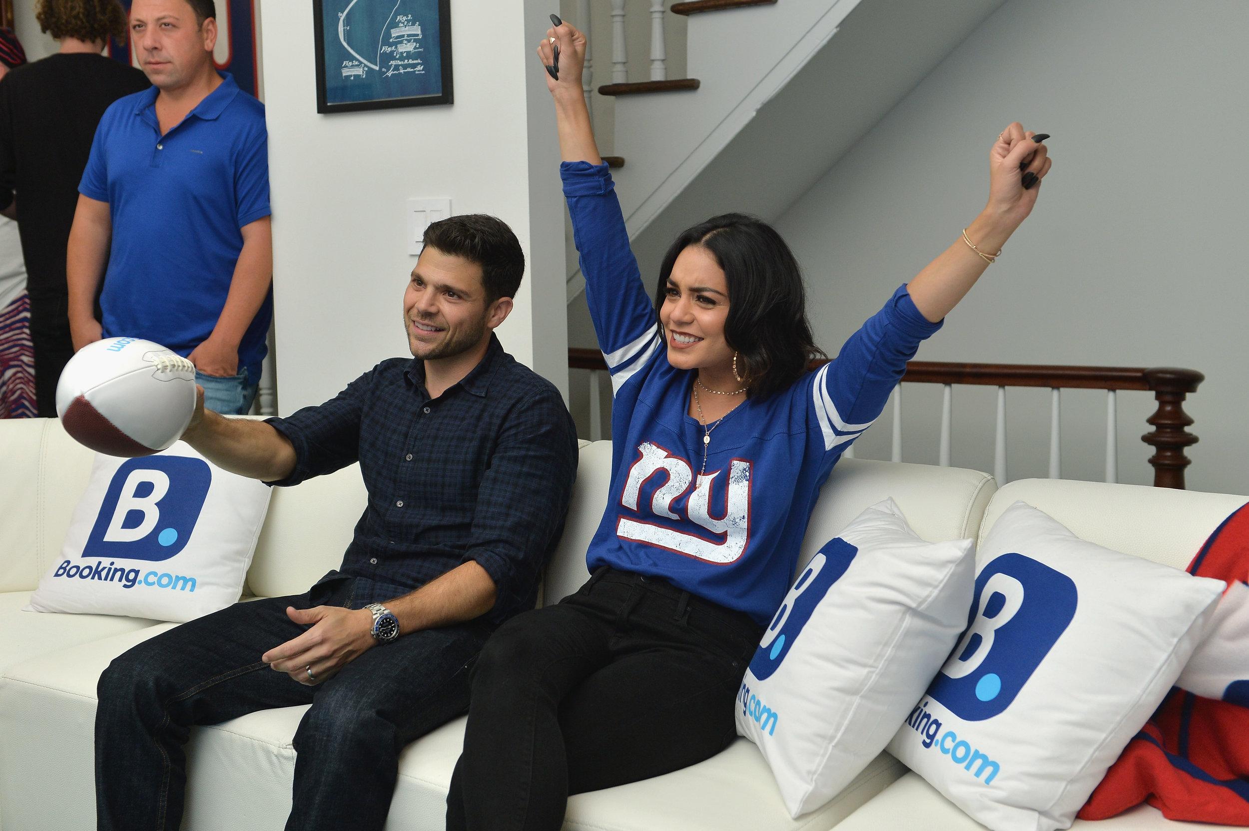 Jerry Ferrara_Vanessa Hudgens at the Booking.com Football House (2).jpg