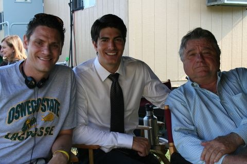 Brandon Routh and Steve Rash on the CROOKED ARROWS set.