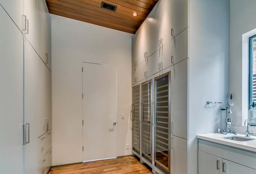 three-temp wine storage. Three-piece wine refrigeration system allows for multiple temperatures and rests flush within an abundant pantry with filtered sink and ice maker.