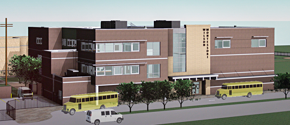 Wilson Elementary/Middle School  1504 Kipling is zone to sought-out Montessori public school renovated and rebuilt for fall 2017.