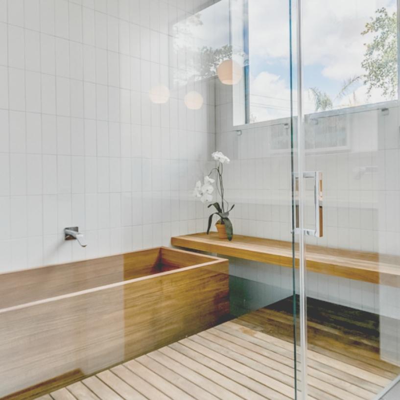 spa bathing.  Master bath includes oversized Japanese soaking tub, custom teak shower, and Toto bidety