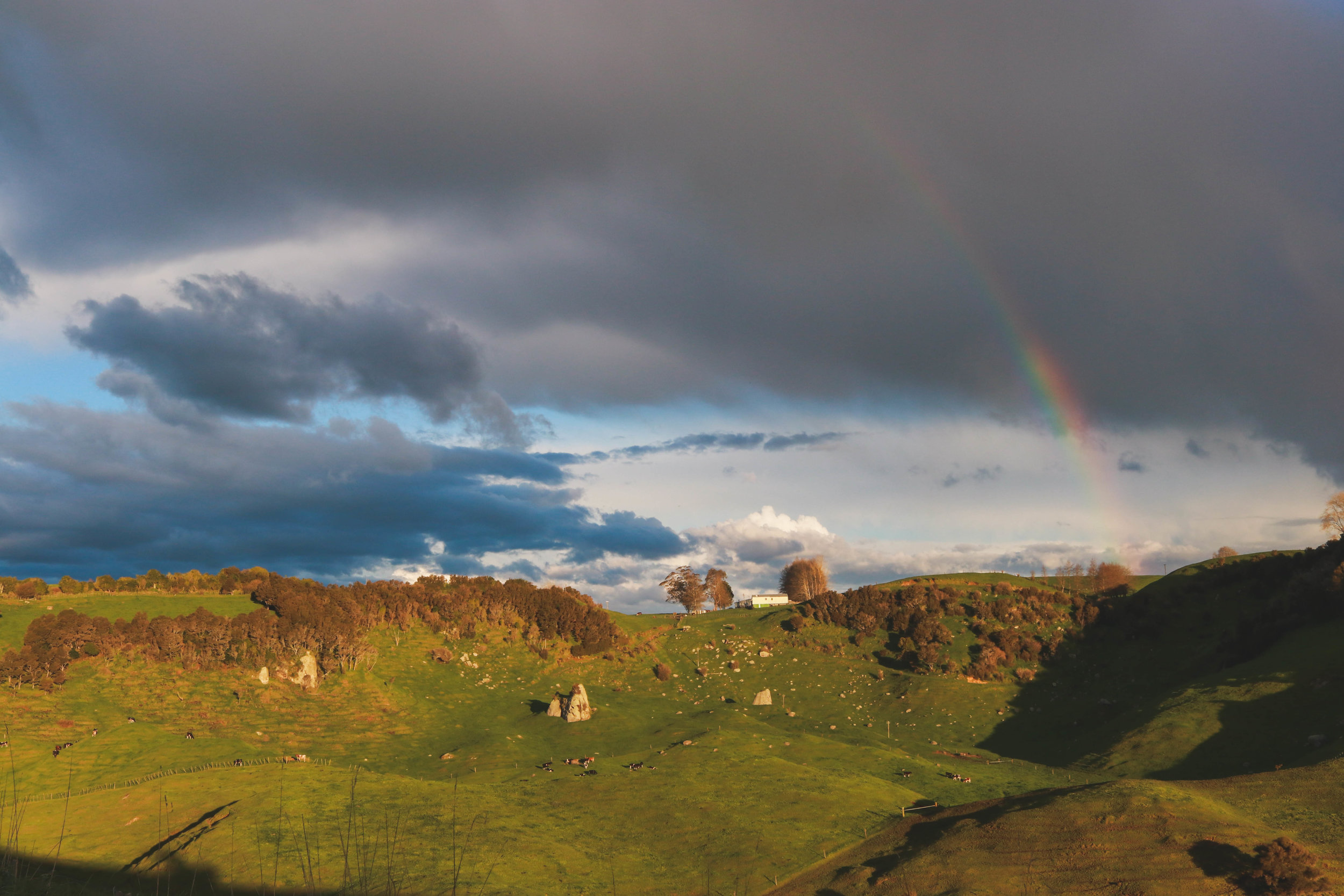 Rainbow over the limestone rocks