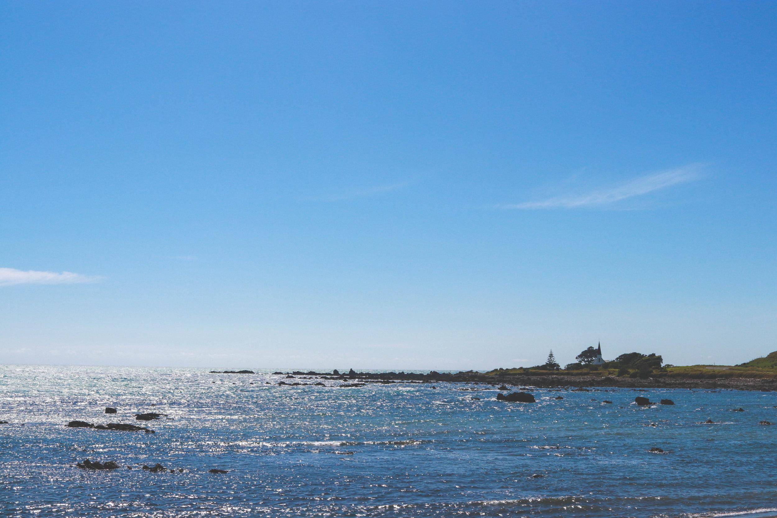 Churches dot the coastline