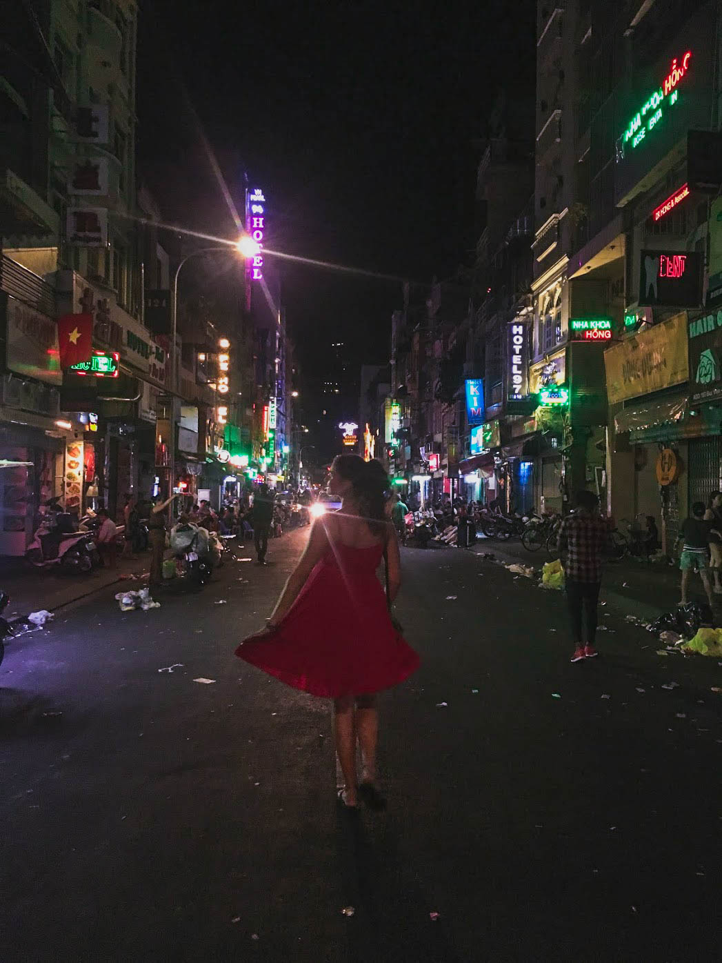 badass babe simona strolling through bui vien in saigon, vietnam.