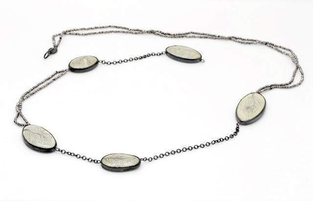 April Higashi, Nori Necklace, enamel, pencil, oxidized silver, 1920's steel cut beads