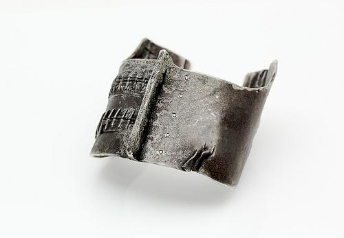 "Short Stitch Cuff, 2011, oxidized silver, black diamonds, 2.5""x 3""x 2"""