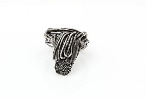 """Wire Tie Ring , 2011, oxidized silver, black diamonds, 1"""" x 1"""" x 1"""""""