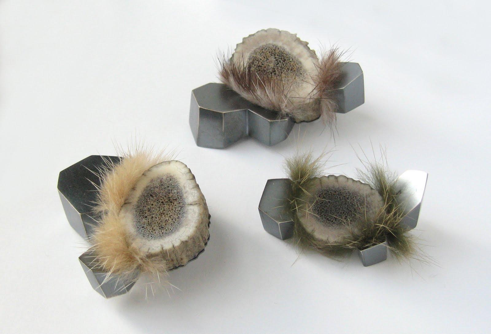 above:  Antler/Mineral brooches , mule deer antler, sterling silver, mink