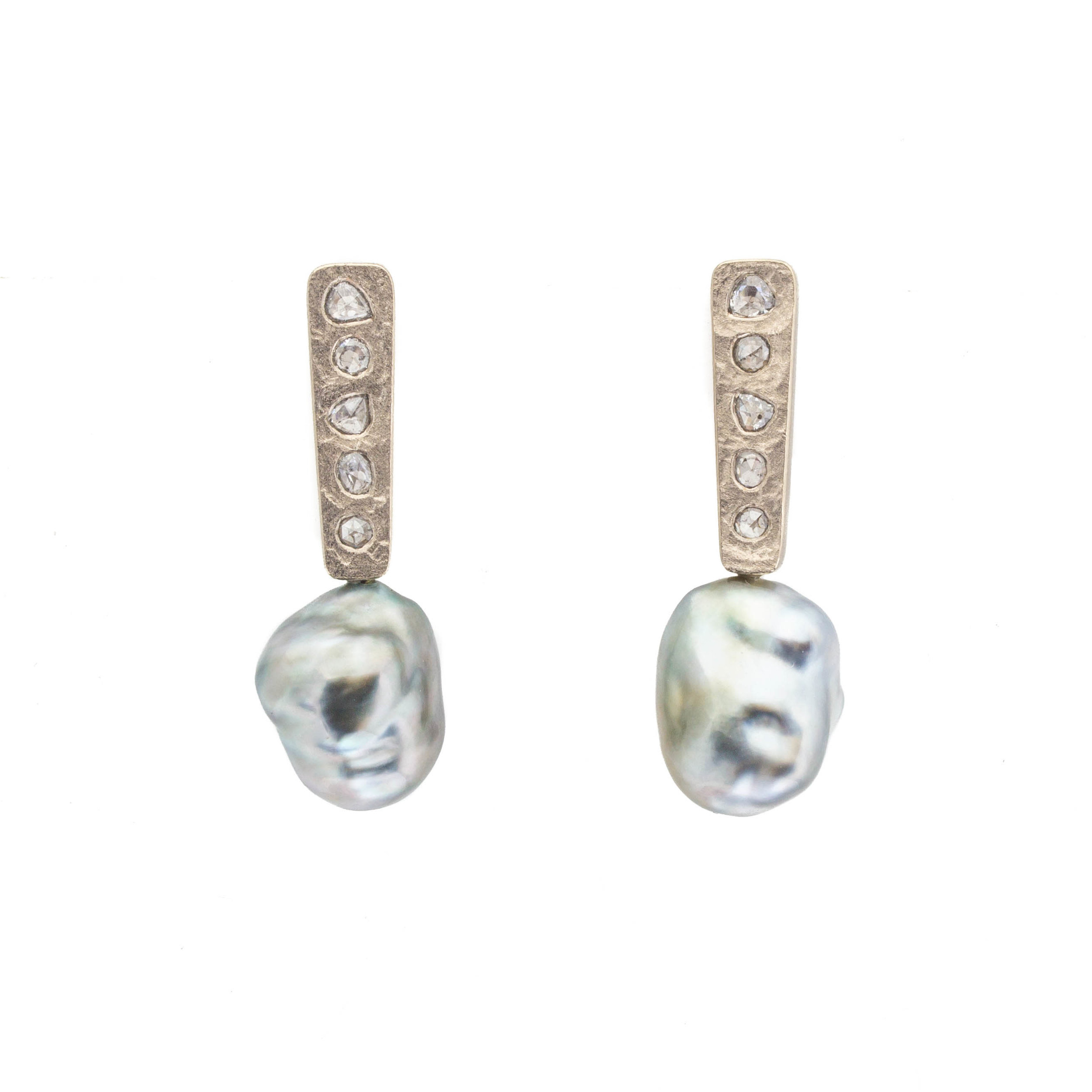 Silver Keshi Pearl Post Dangle Earrings with Salt And Pepper Diamonds in 18k Palladium White Gold