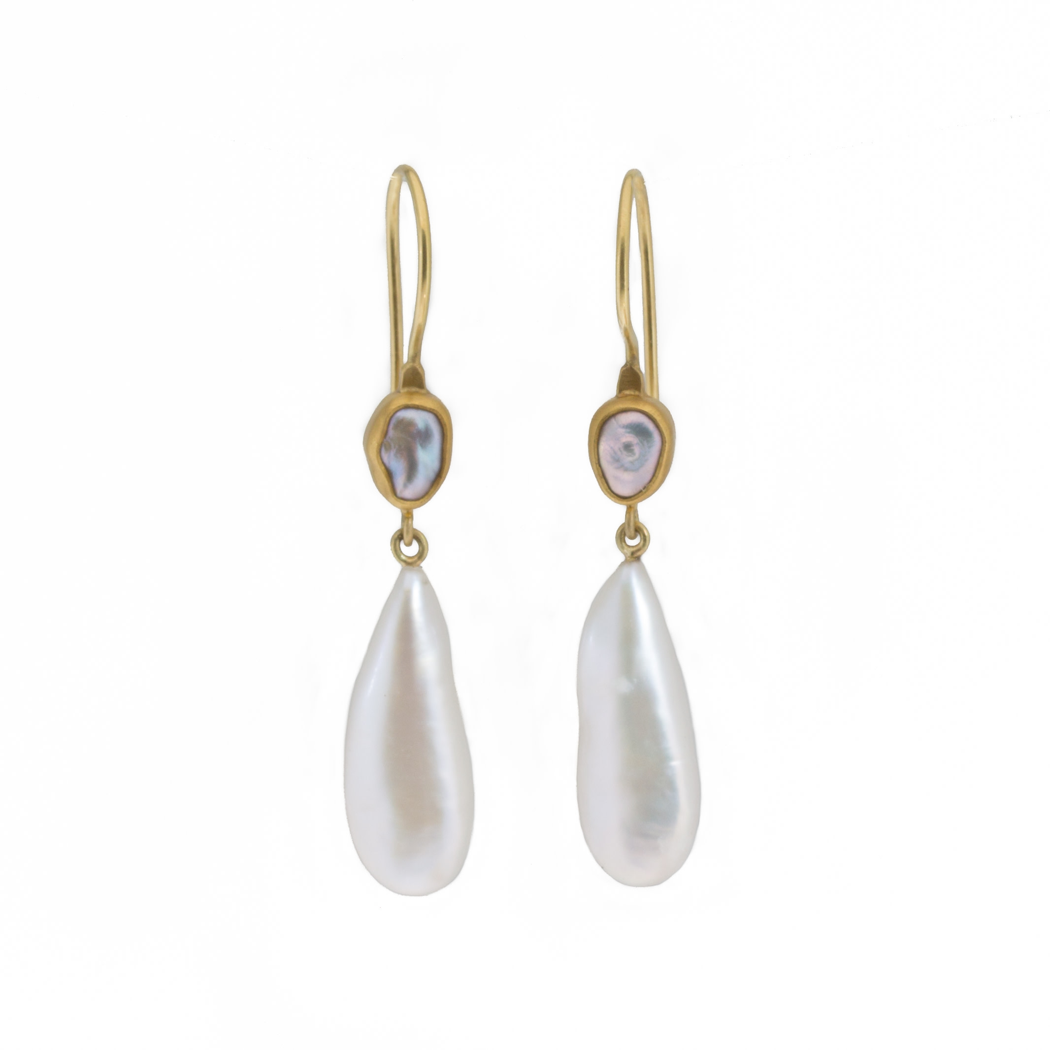 Double Pearl Drop Earrings in 22k and 18k Yellow Gold