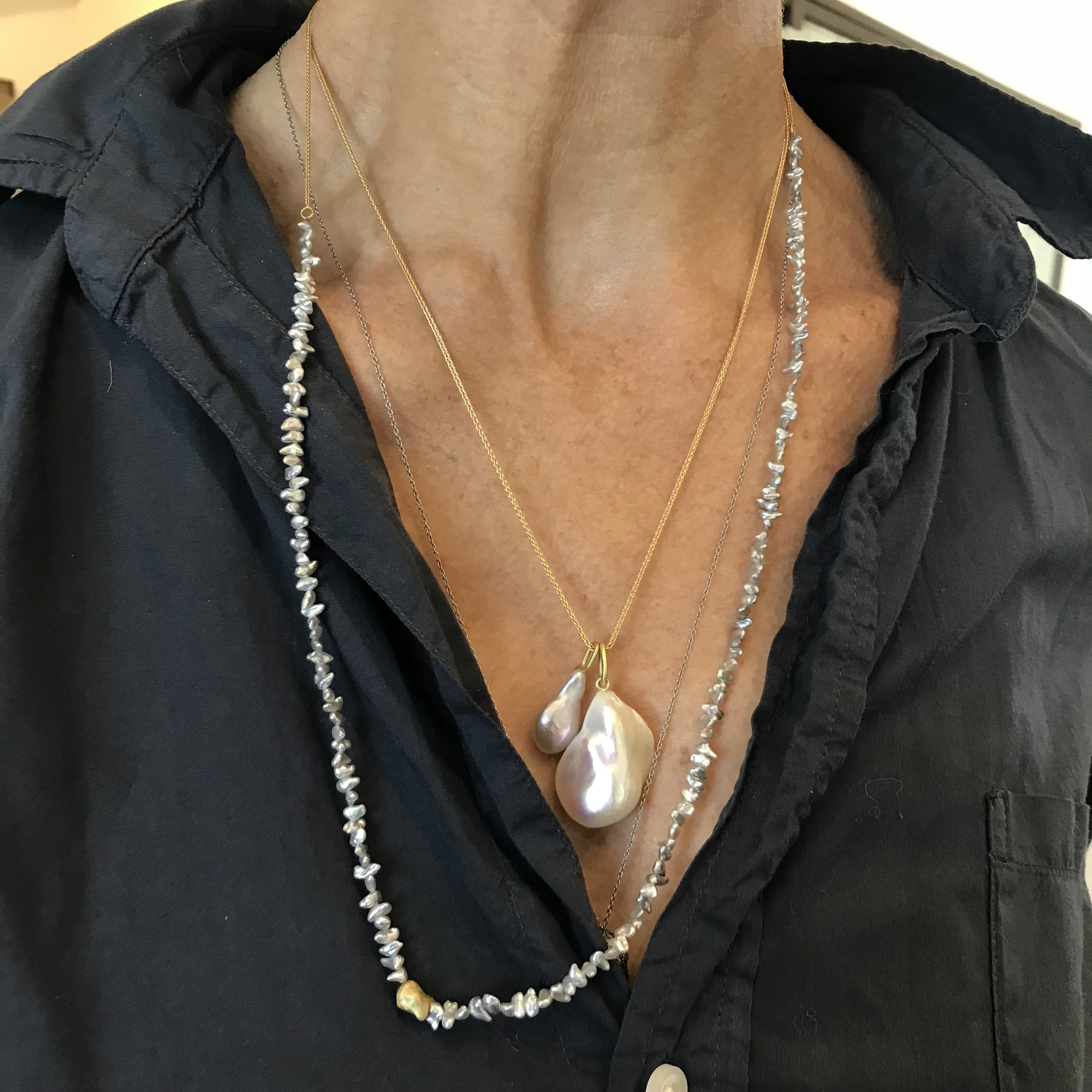 Tiny Keshi Pearl Necklace with 18k Gold Bead and Chain