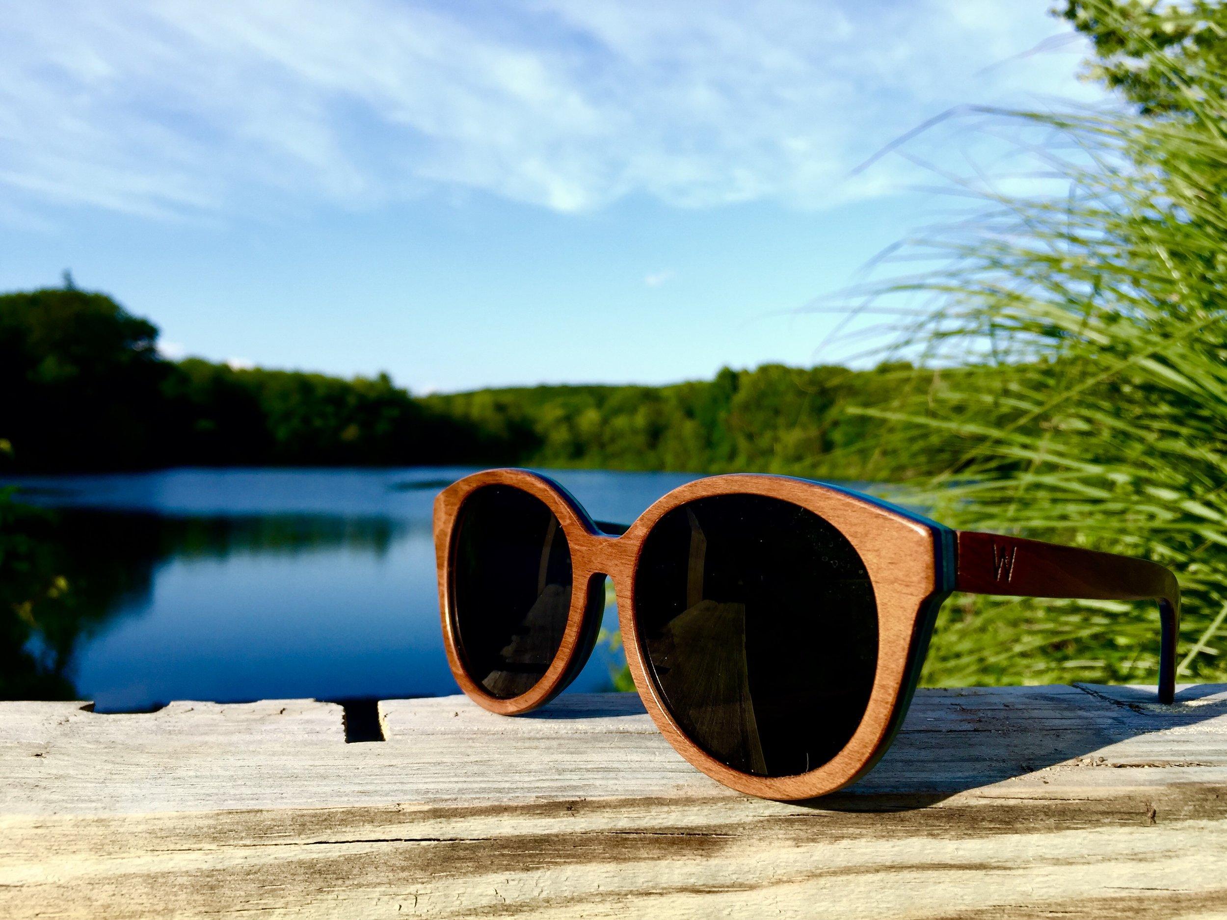Woodzee sunglasses made from repurposed skateboards