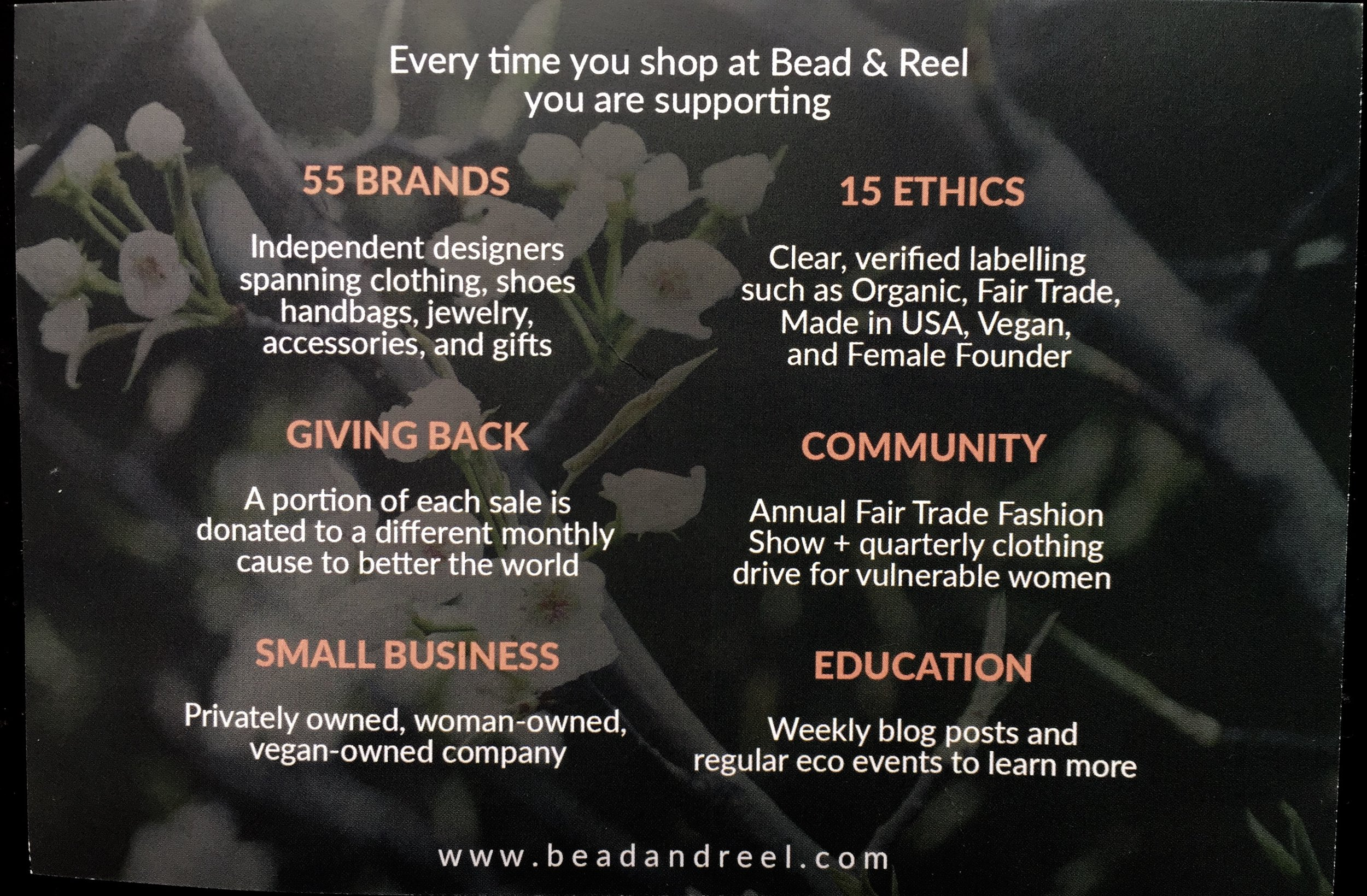 Bead & Reel card included with gift box