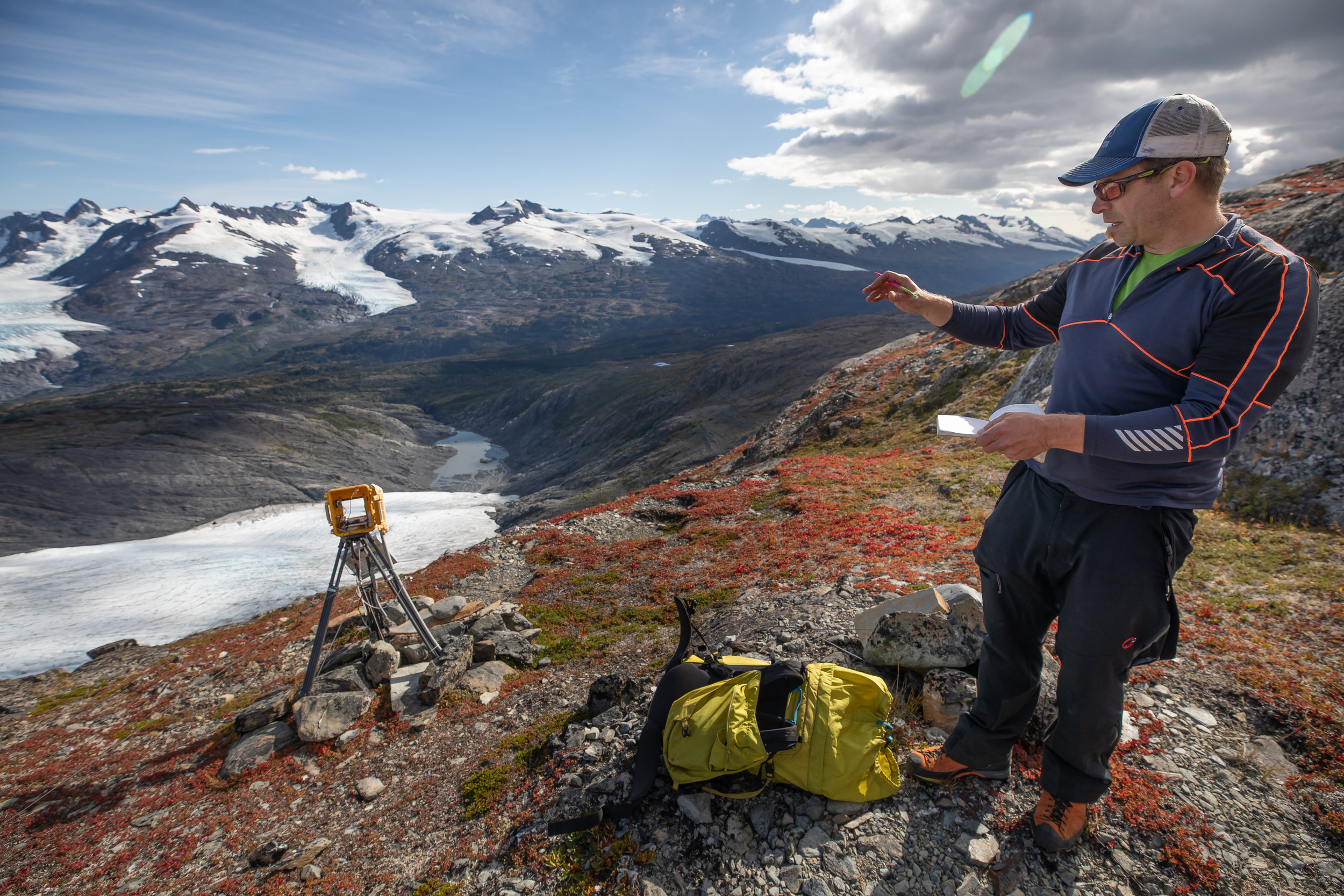 USGS geophysicist Shad O'Neel is an Alaska based researcher focused on the connections between glaciers and marine environments. Standing above the Wolverine Glacier on the Kenai Peninsula, O'Neel explains the nuances of time-lapse photography.
