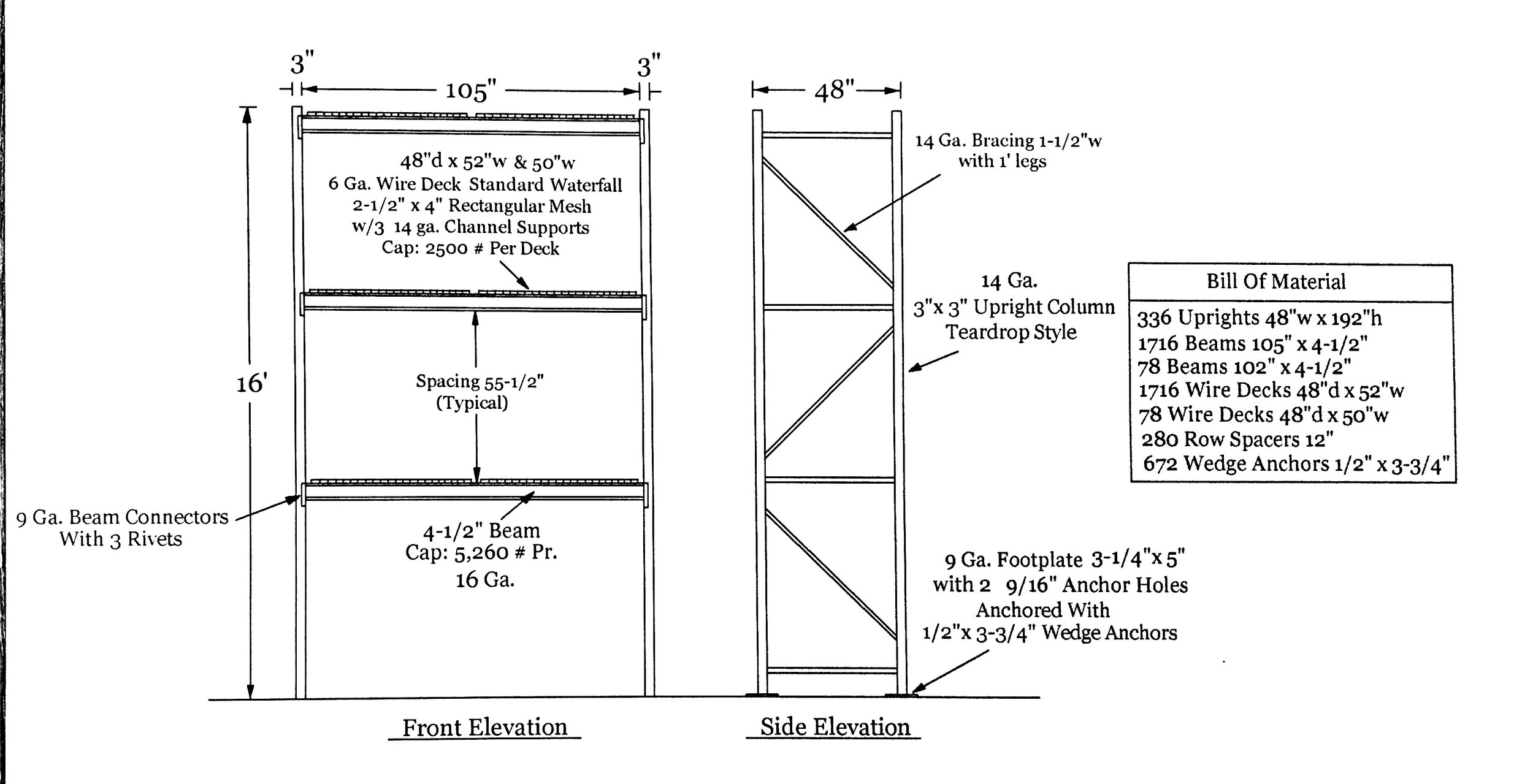 Spec Sheets for Pallet Rack
