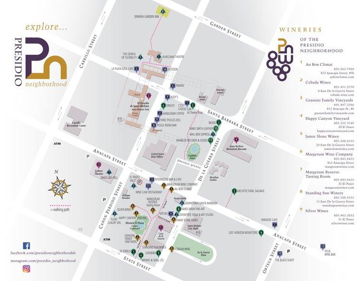 The map for the Presidio Neighborhood businesses and restaurants.