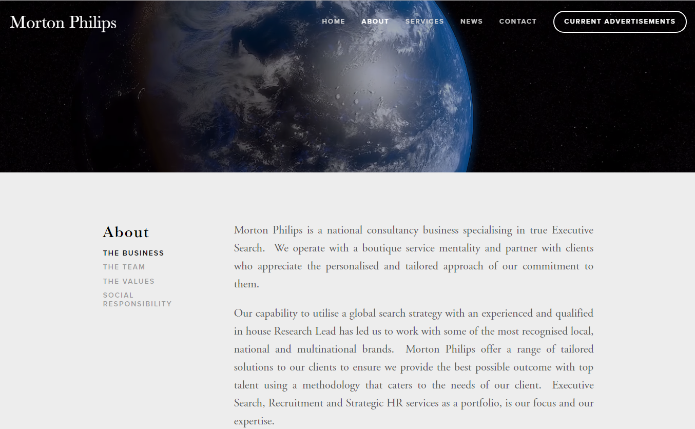Our new website layout featured on all content pages.