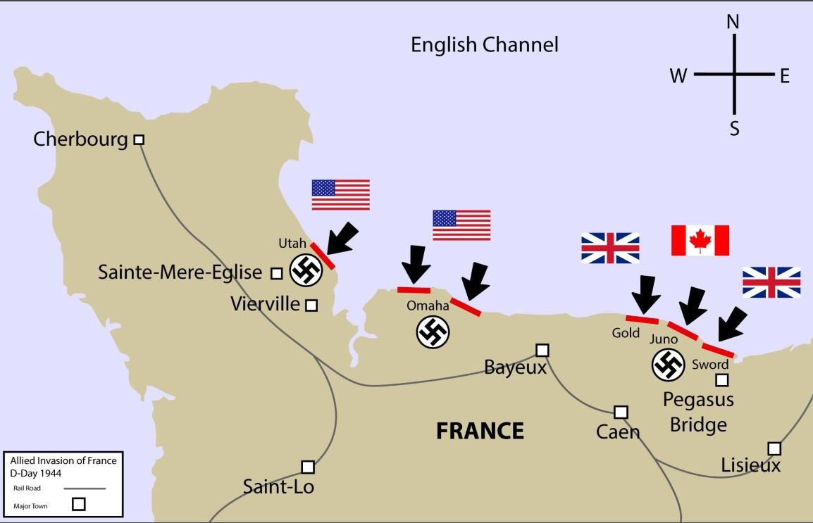Map Info Graphic - World War II D-Day info graphic.