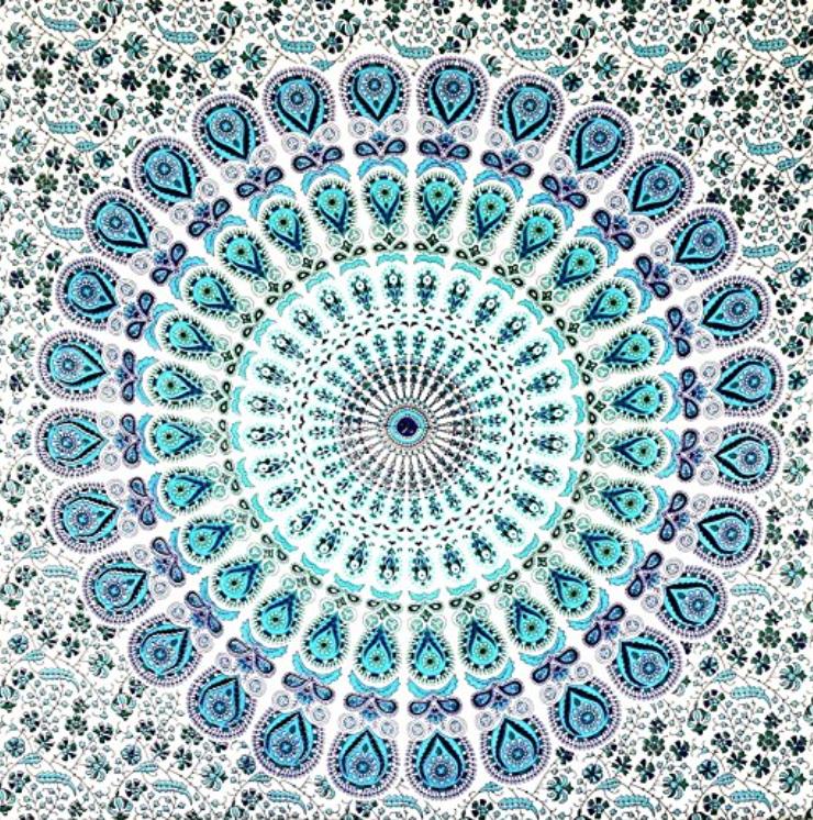 boho tapestry blue