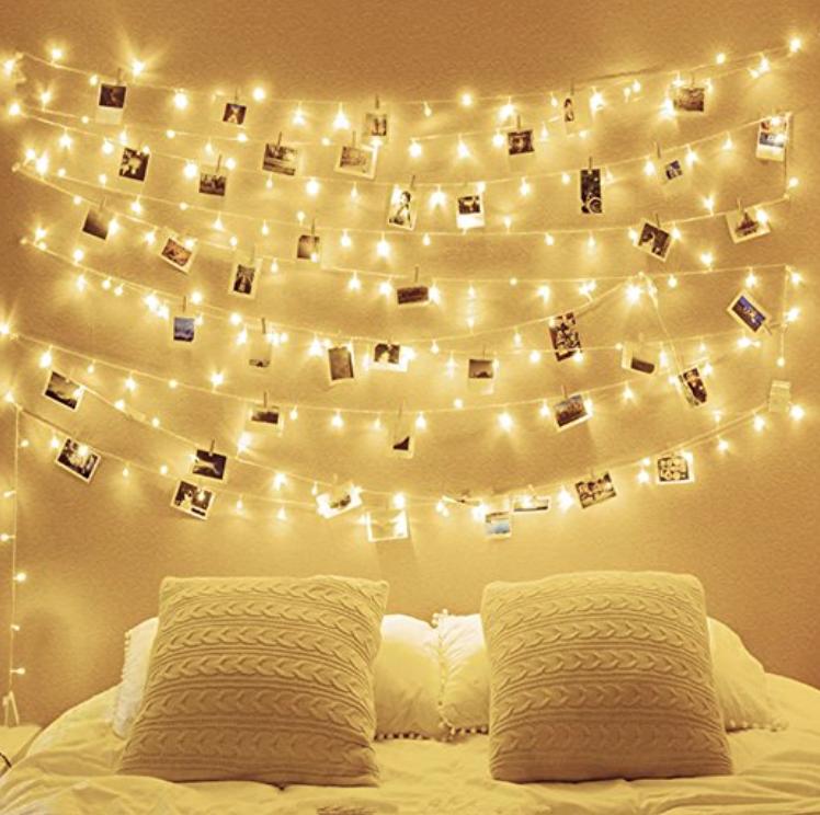 fairy lights indie bedroom