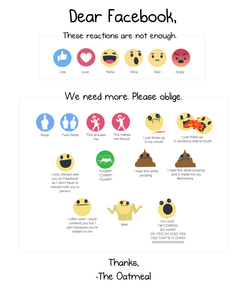 face reactions the oatmeal