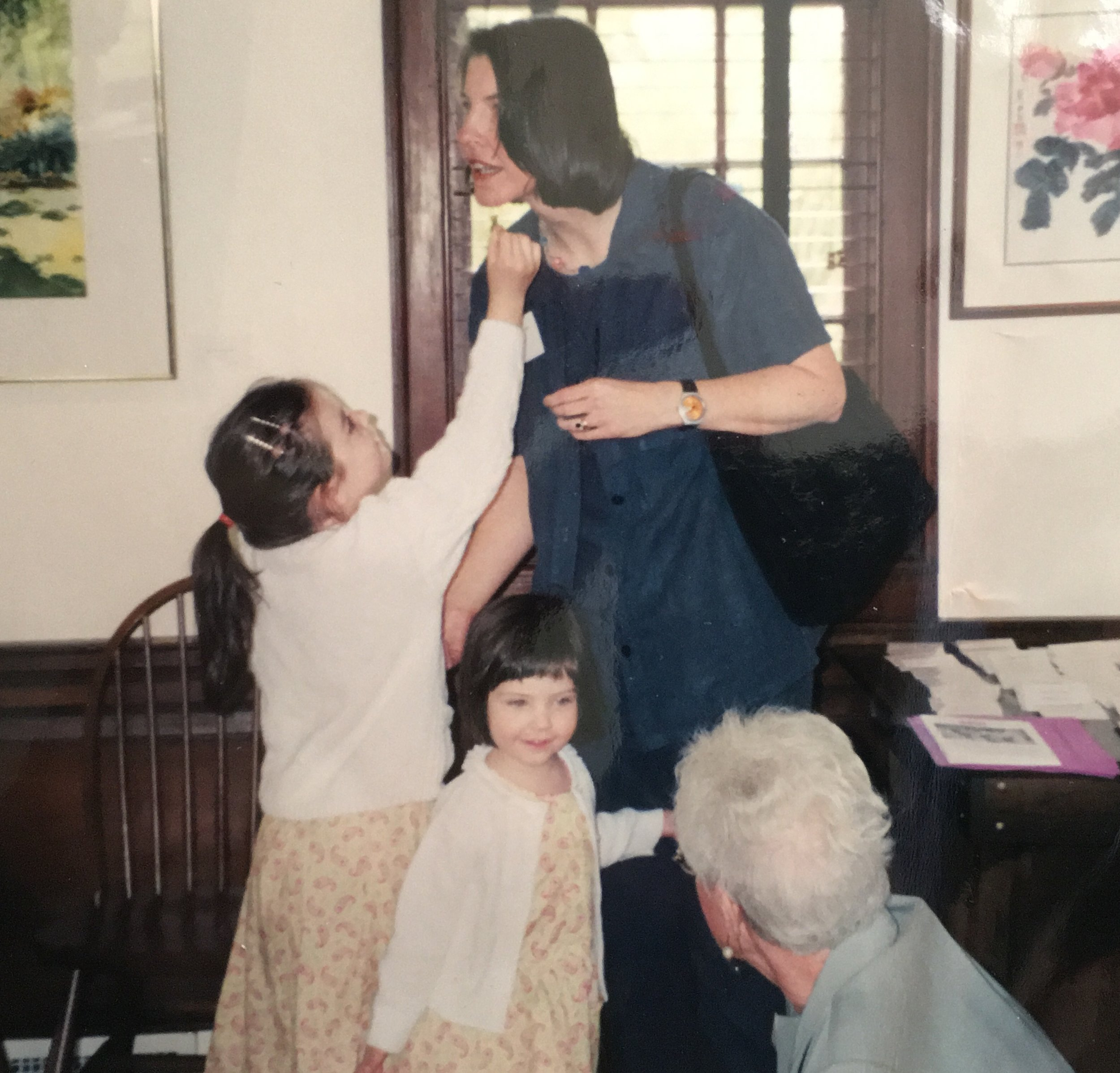 The artist and her two little girls in 2001