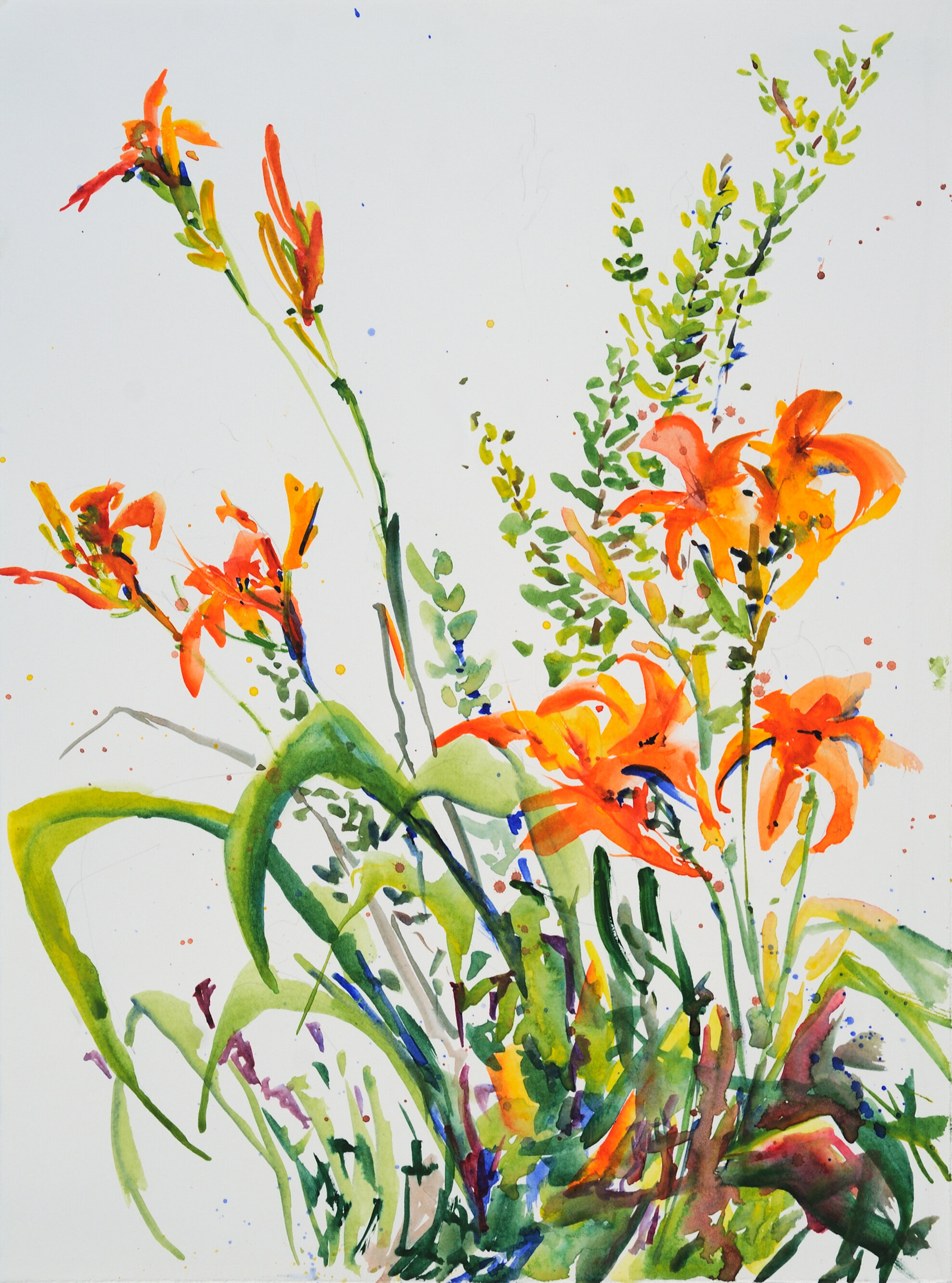 """""""Daylilies"""", the first painting in my Concussion Series. This was before the deer ate the lilies…"""