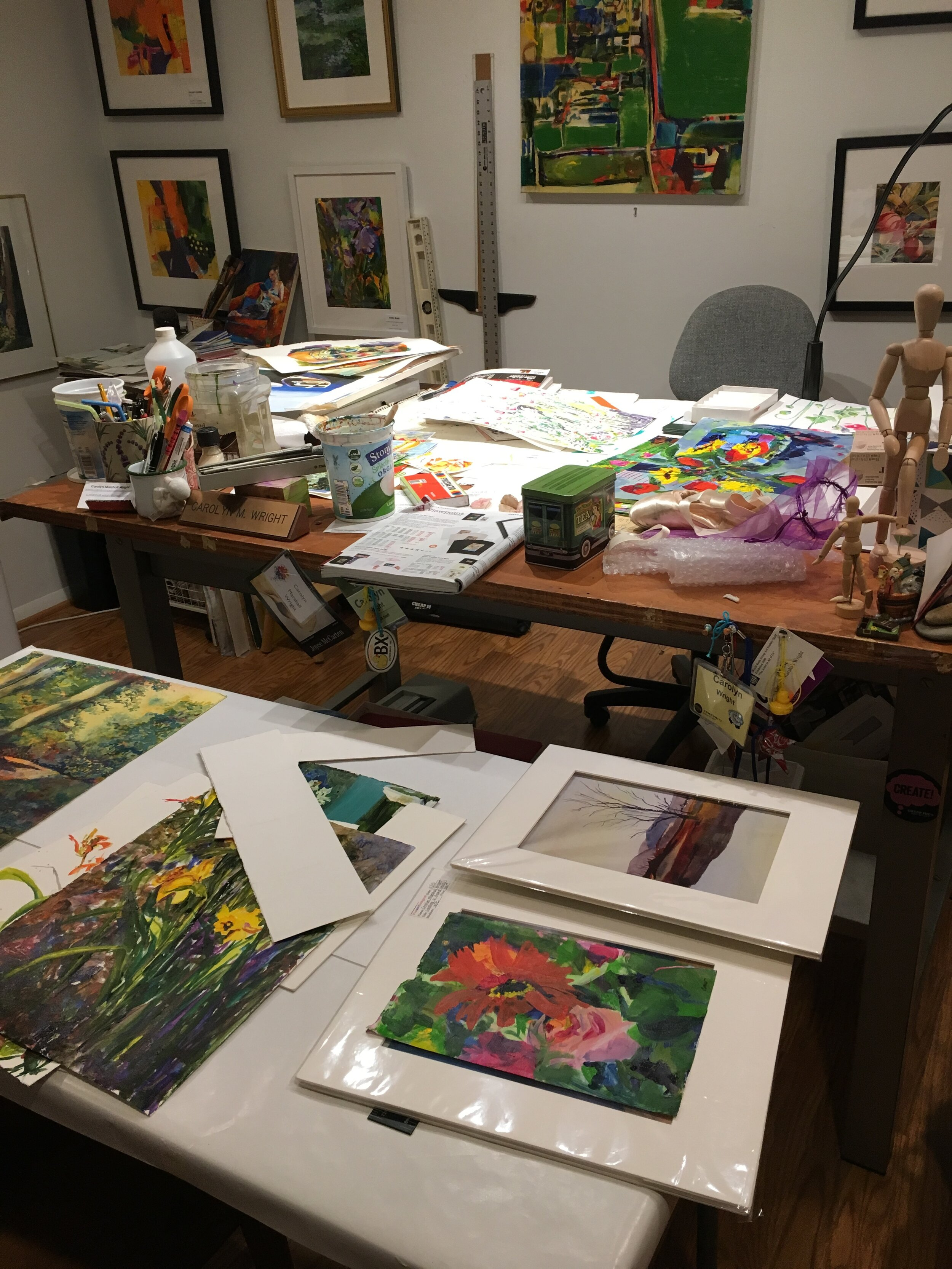 What's getting matted? What's getting framed? It may look chaotic to the uninitiated, but I do know what I'm doing.