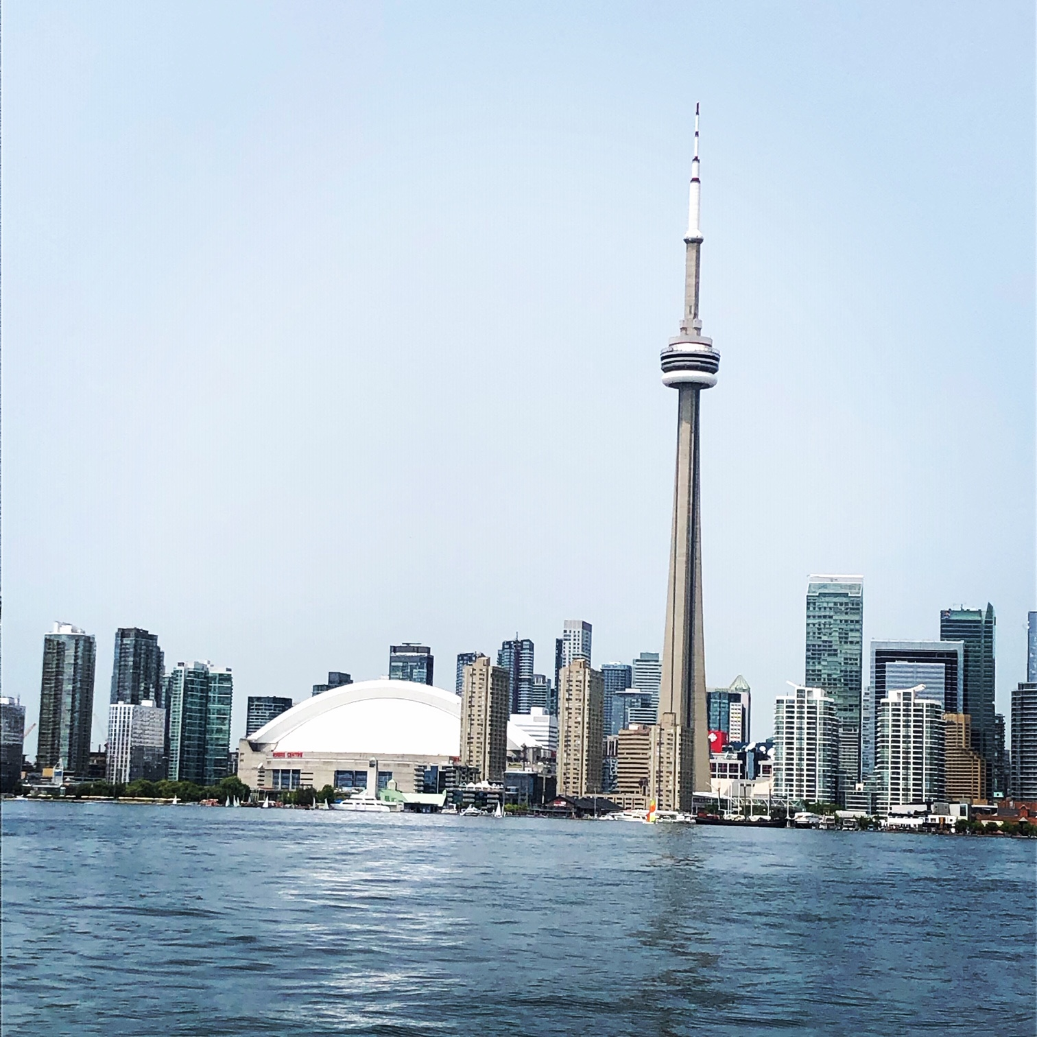 View from a water taxi of the Toronto skyline. CN Tower is the big spike (you can go to a viewing floor and even do a thing where you go outside and sort of hang over the edge, no thanks). Round white building is the Rogers Centre (Blue Jays play baseball here). Red bit is CBC headquarters. They're the national broadcaster.