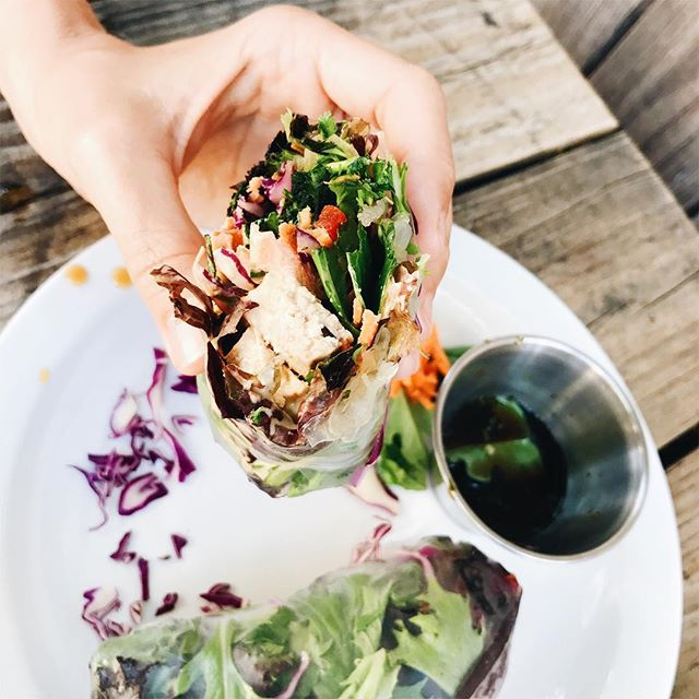 Another drop dead delicious wrap from @hvojai rice paper is my new fave, so is this mint sauce and how fresh and crunchy it is in general!! #allthethings ------------------------------ #goodeats #healthyfood #cleaneating #glutenfree #foodie #vegan