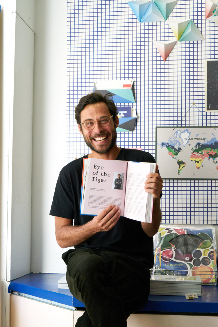 Maxime Brenon, cofounder of Papier Tigre, who appears in the book.