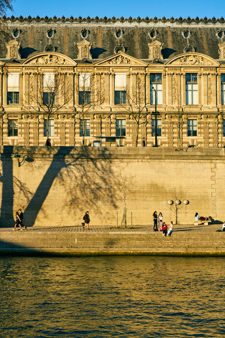 Along the banks of the Seine.