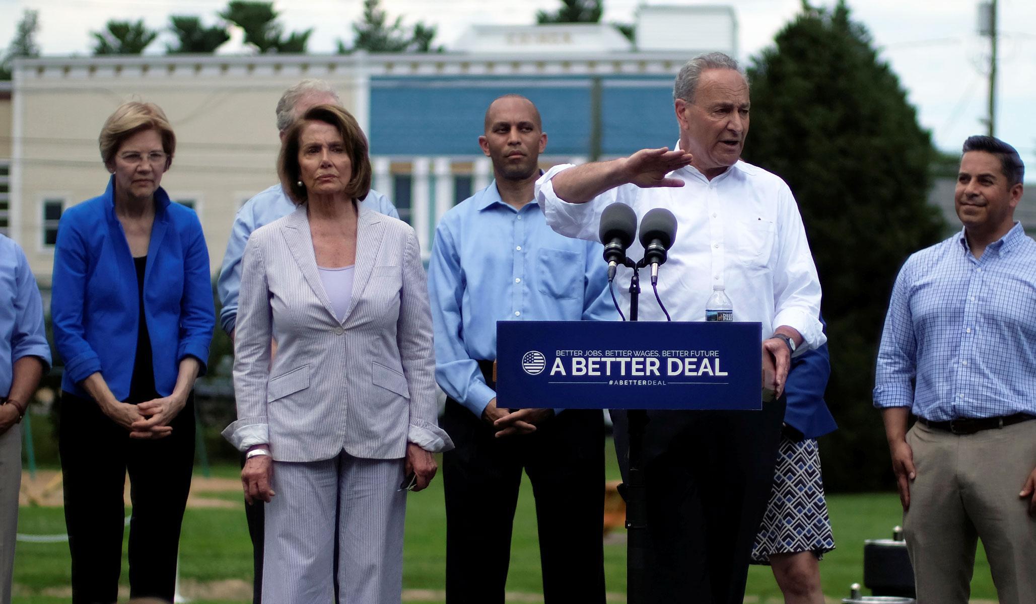 (L-R) Elizabeth Warren, Nancy Pelosi, Chuck Schumer//Berryville, VA. July 25th, 2017.
