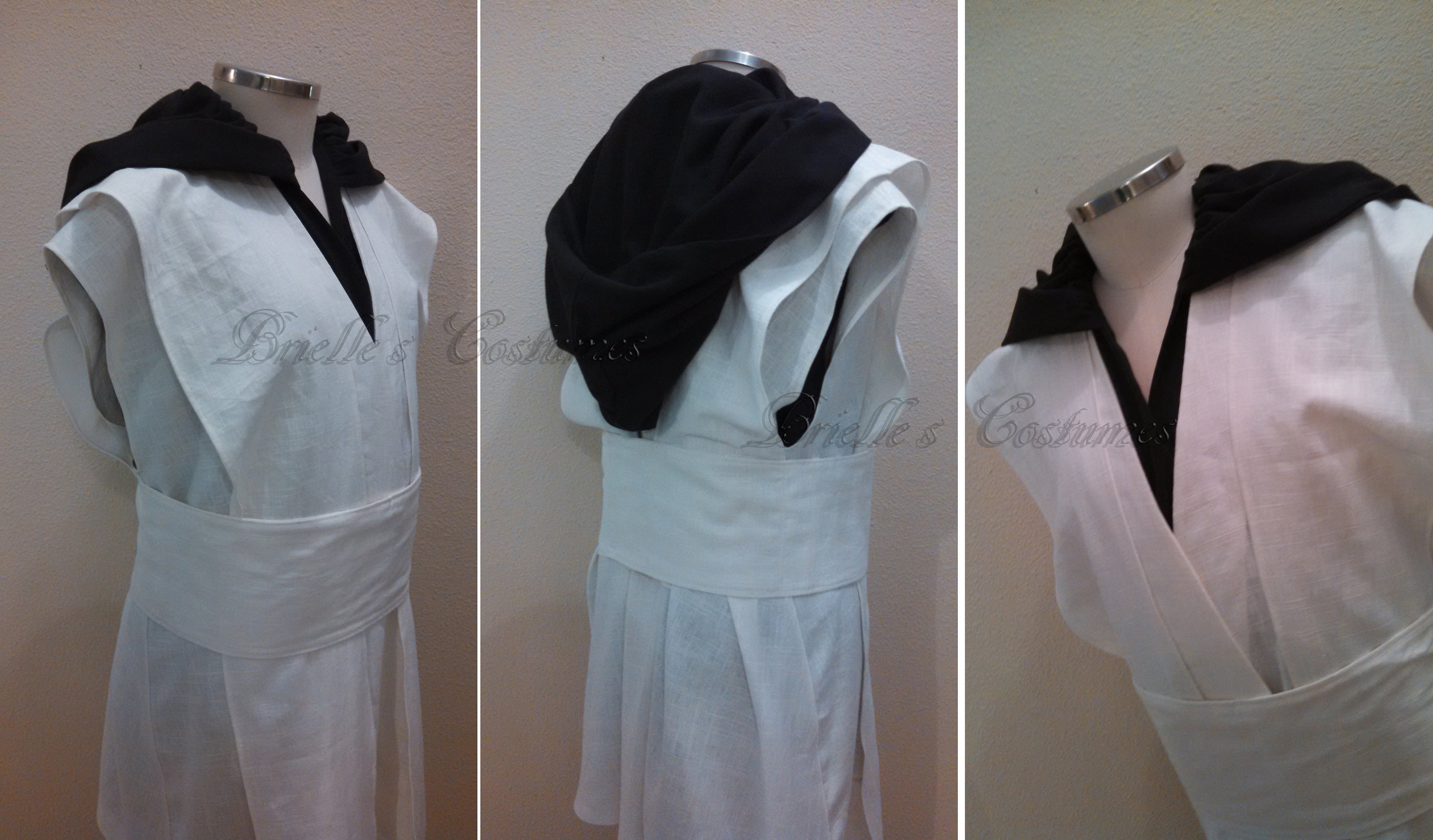 This costume was also unique in that my customer was looking for a black and white sleeveless Jedi Look. We also add a hood for layer options.