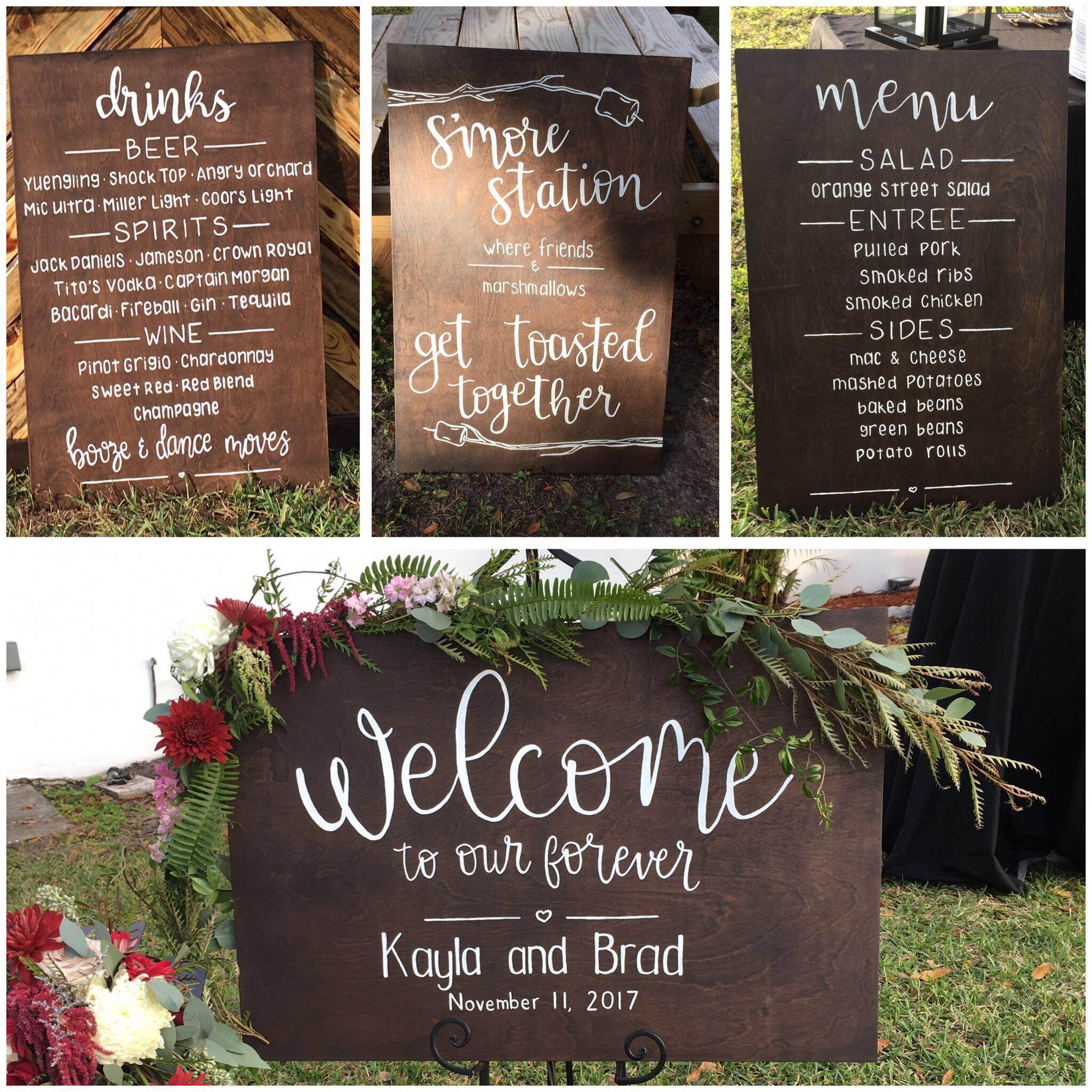 wood wedding signs
