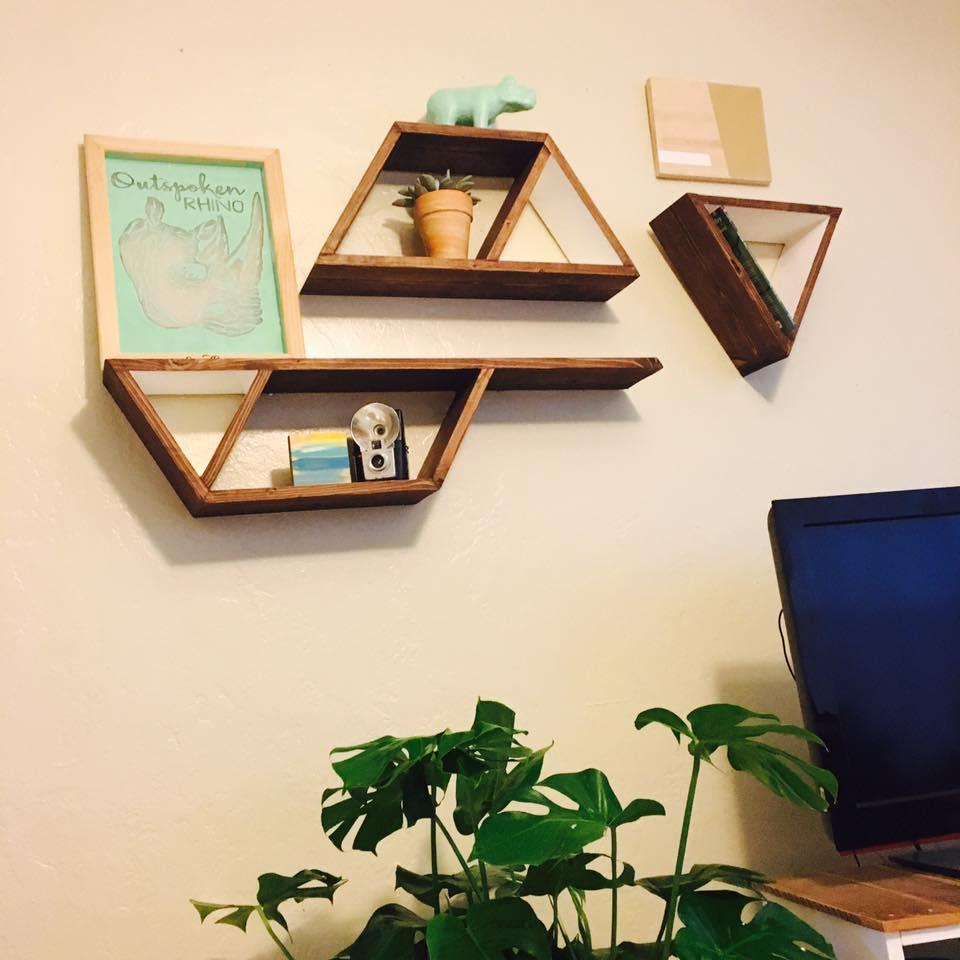 geometric shelves and Outspoken Rhino screen