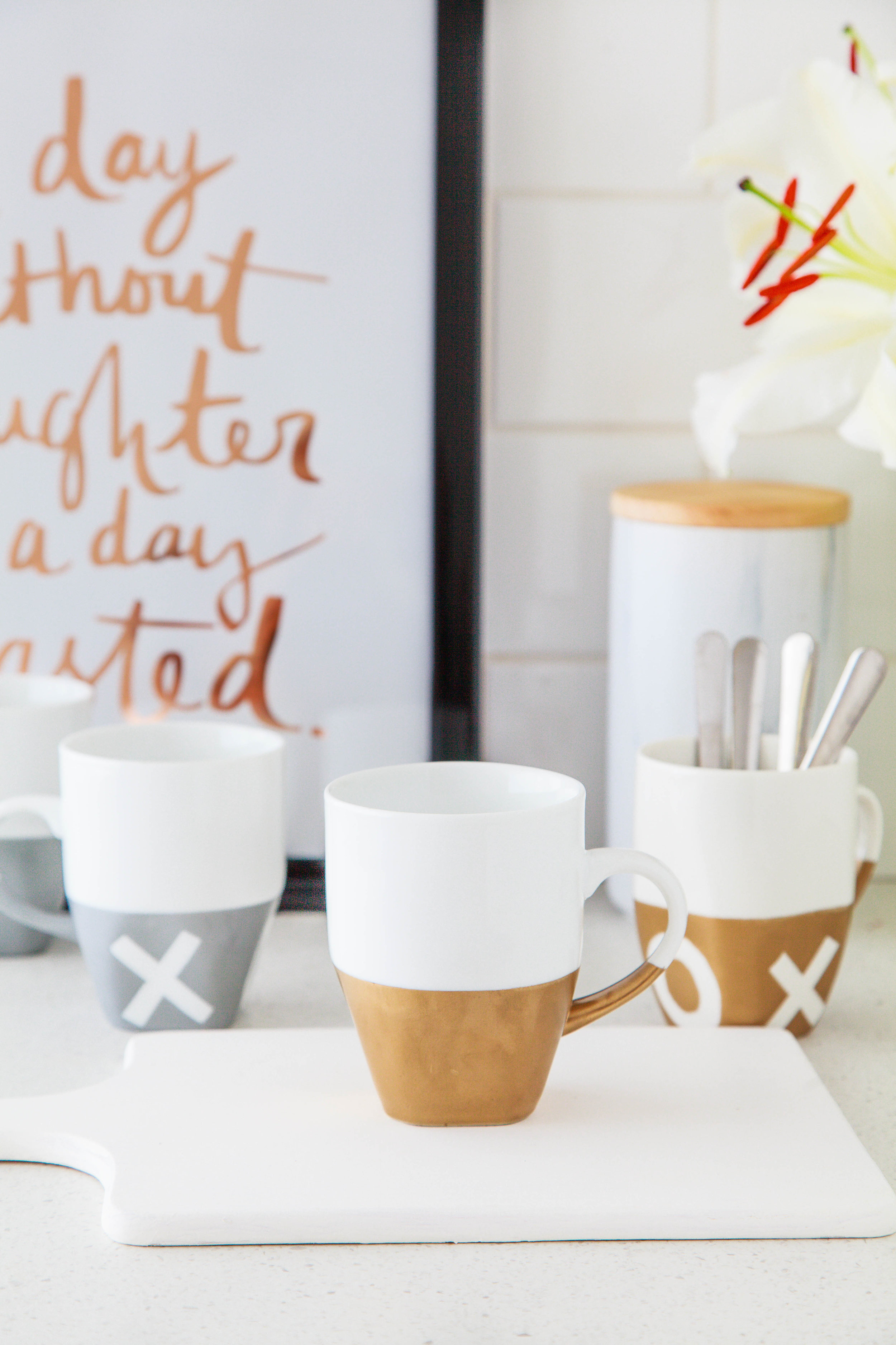 Diy Mother S Day Gift Gold Painted Mugs Video The Whimsical Wife Cook Create Decorate