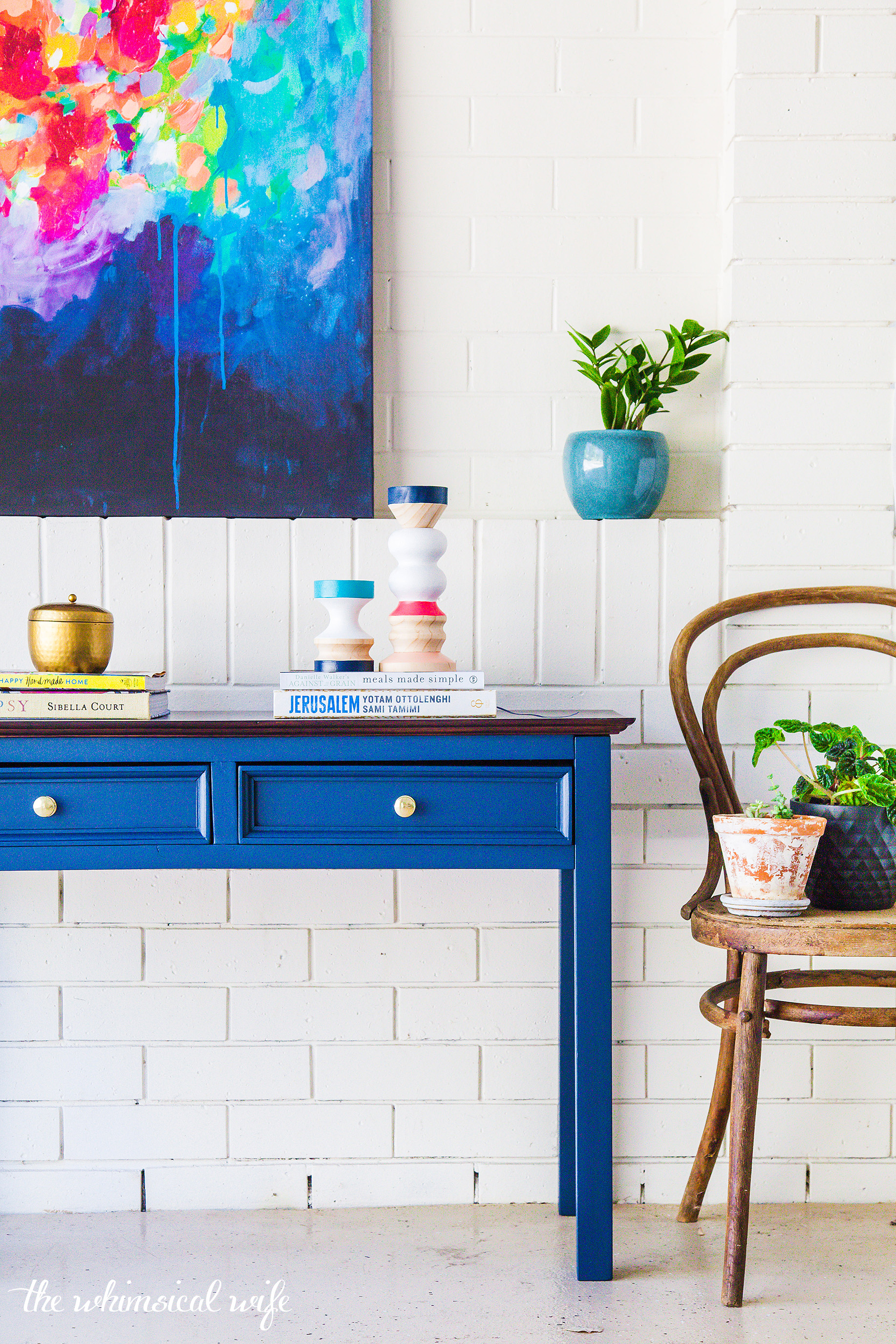 Mid Century Hall Table Makeover
